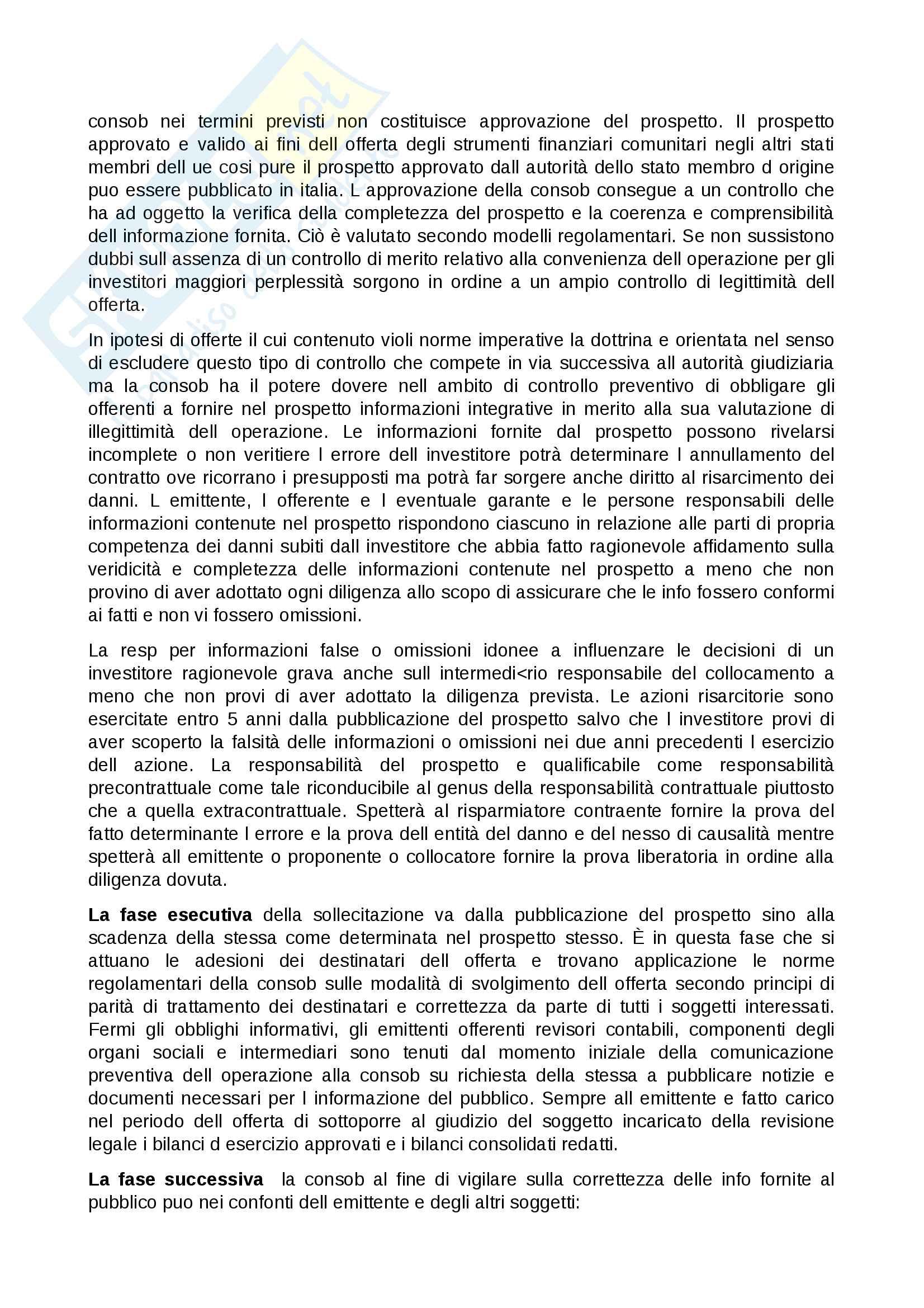 Sunto diritto commerciale 2, professore Fortunato, libro consigliato Monduzzi, La Consob e il mercato mobiliare Pag. 11