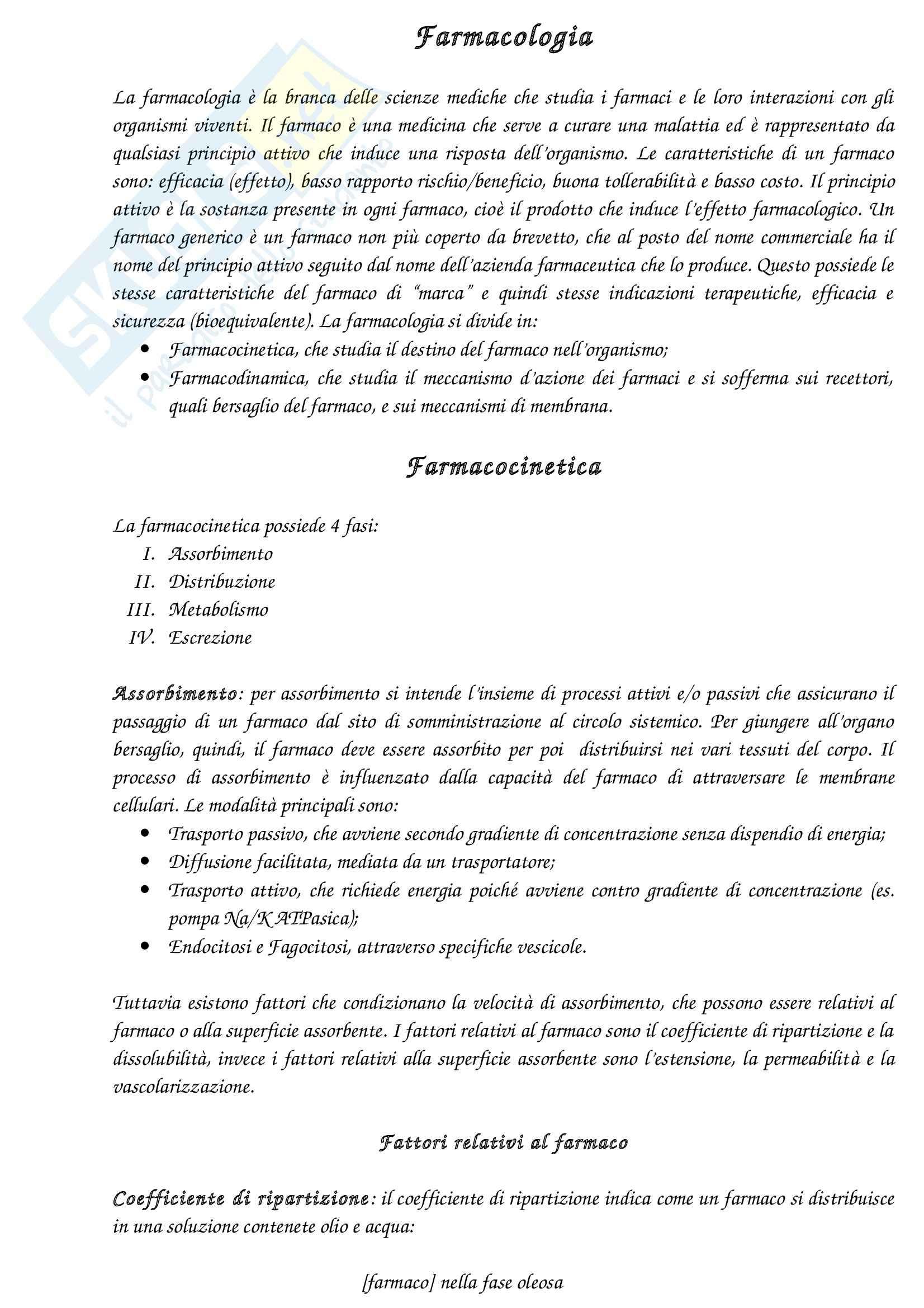Riassunto esame Farmacologia, prof. Canzoniero, libro consigliato Farmacologia generale e molecolare, Clementi, Fumagalli