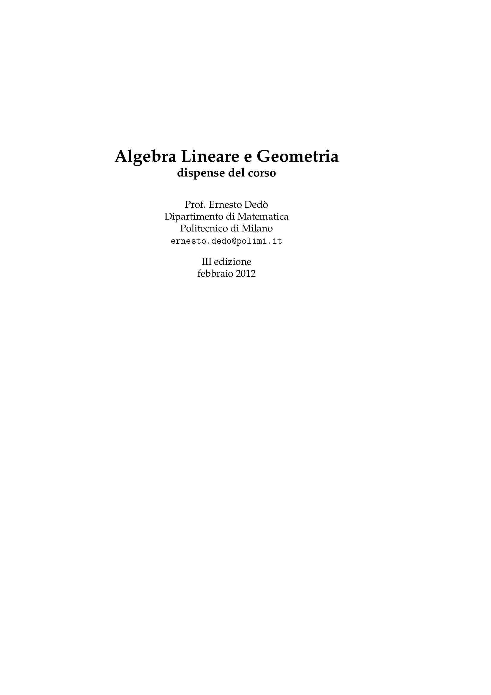 Dispensa di Matematica - Algebra lineare e geometria