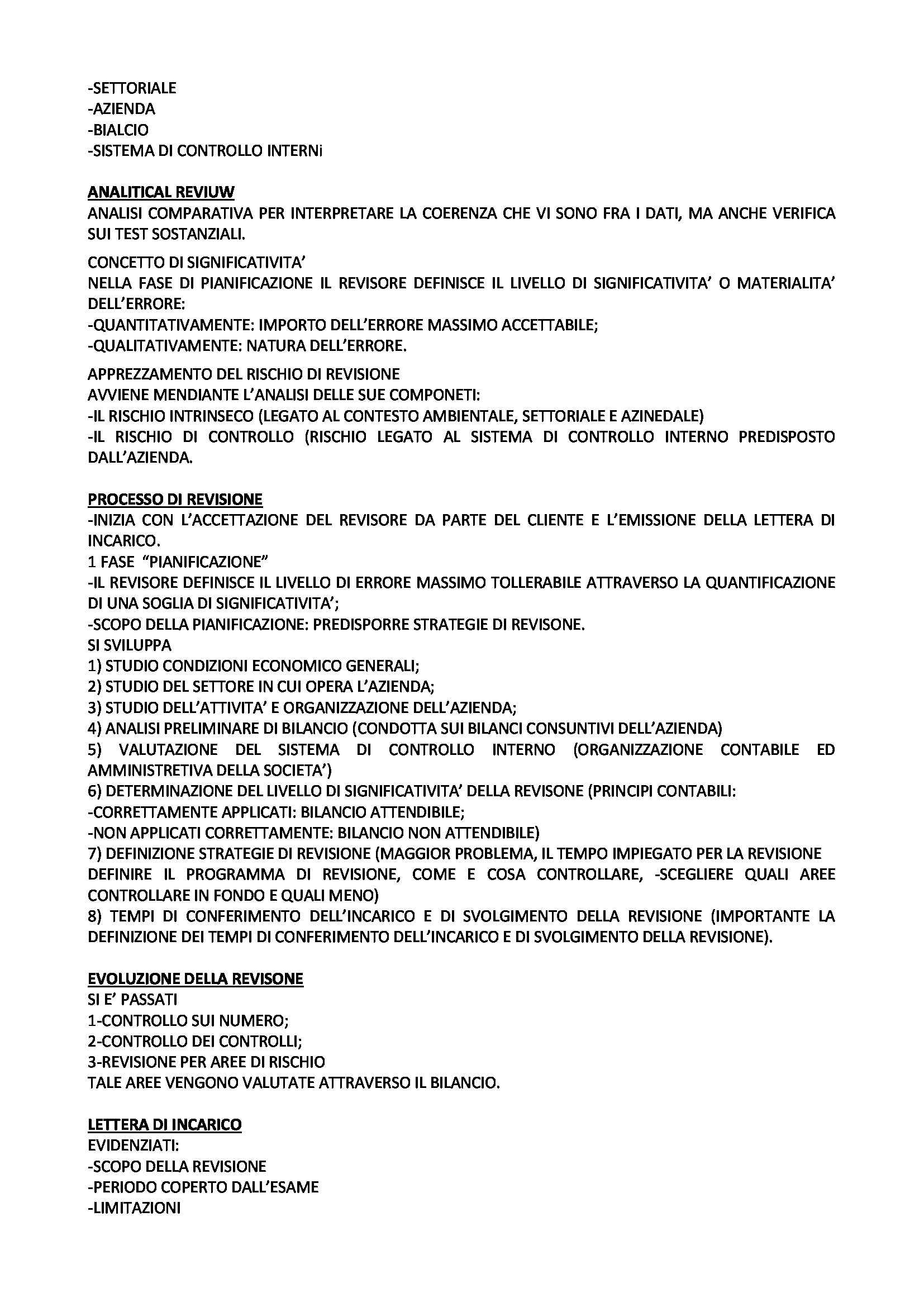 Revisione aziendale - Appunti e schemi Pag. 6