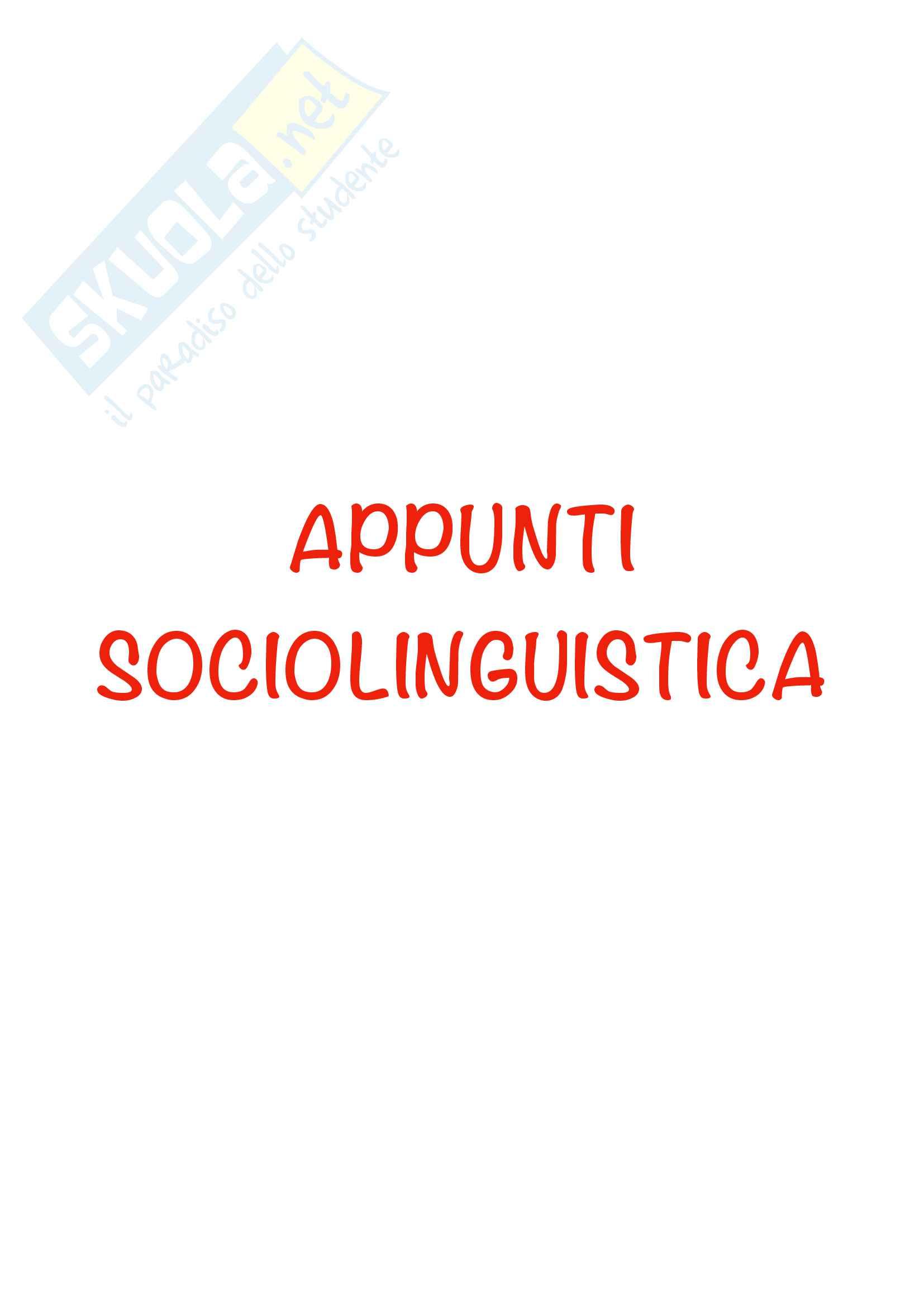 Appunti sociolinguistica