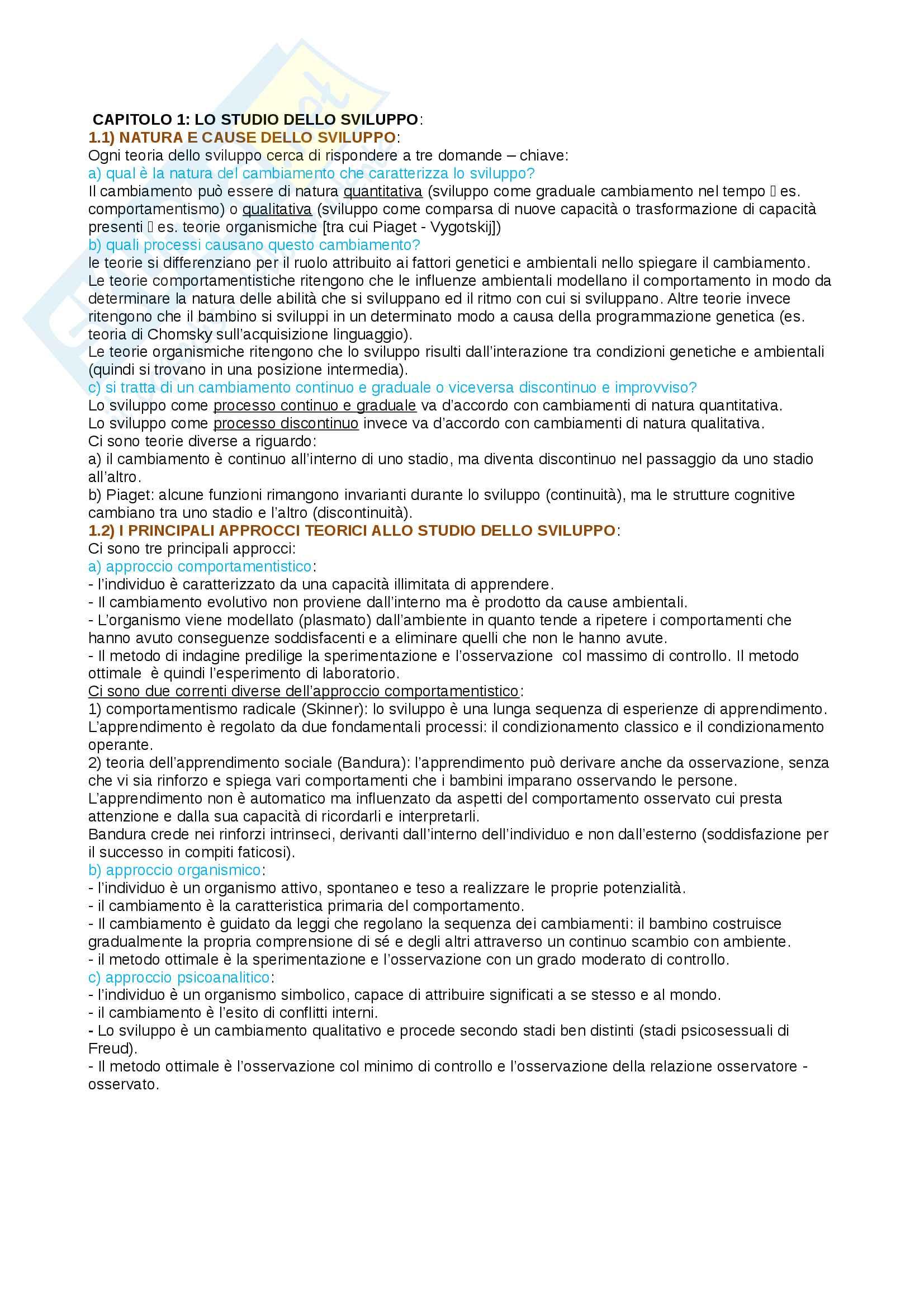 Riassunto esame psicologia dello sviluppo, prof Macchi Cassia, libro consigliato Camaioni e Miller