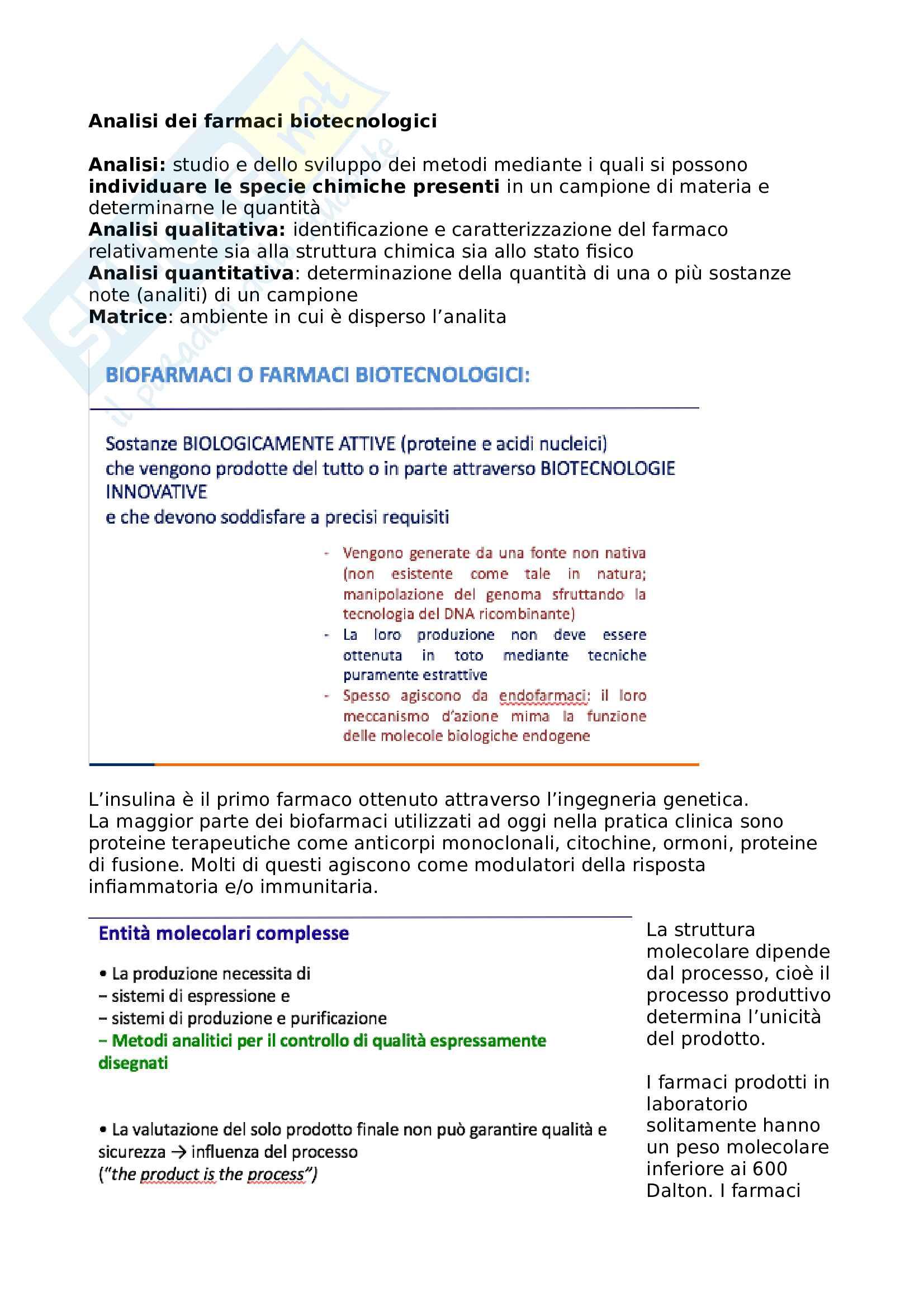 Riassunto esame Analisi dei farmaci biotecnologici, prof. Regazzoni
