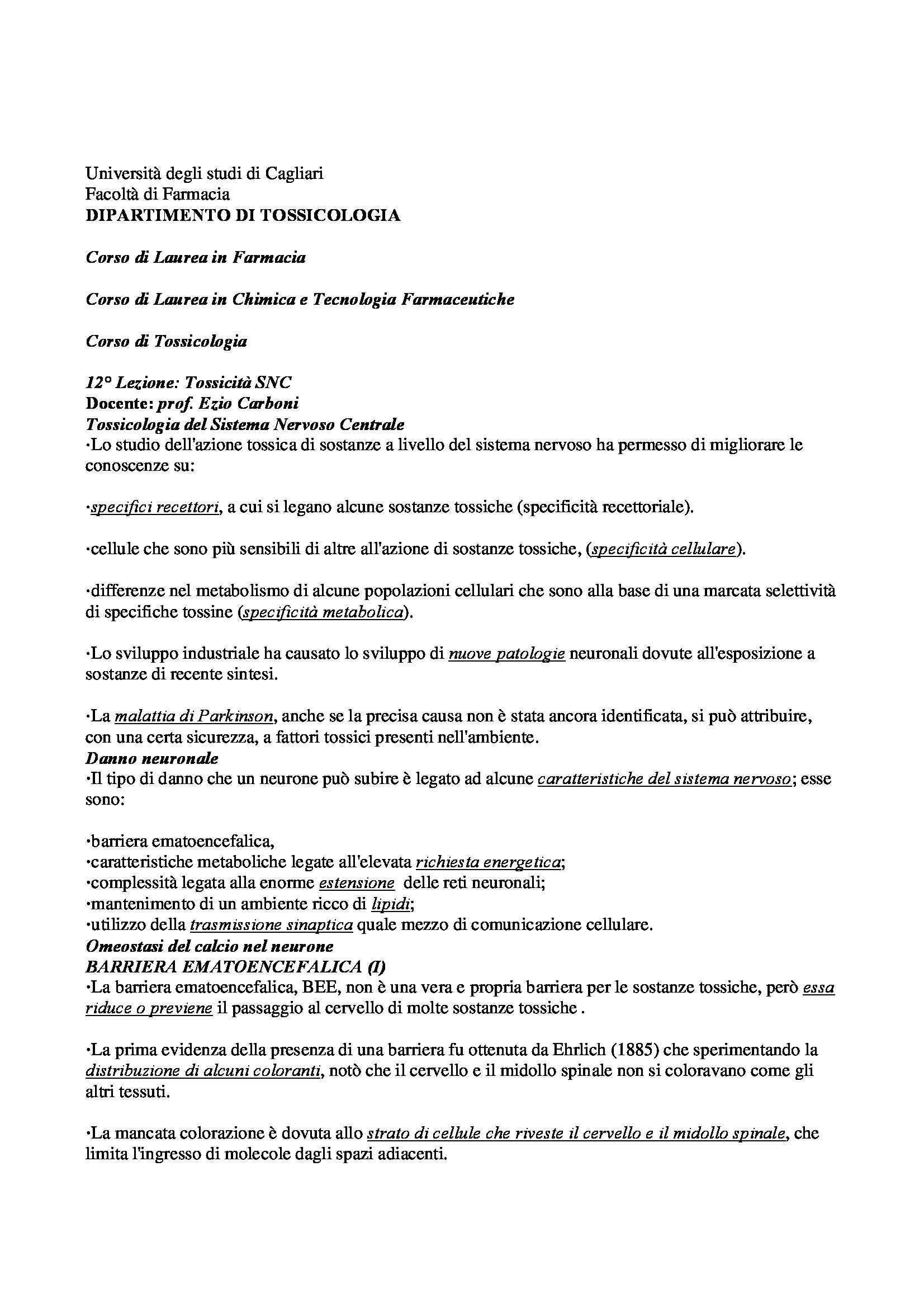 Tossicologia - Appunti