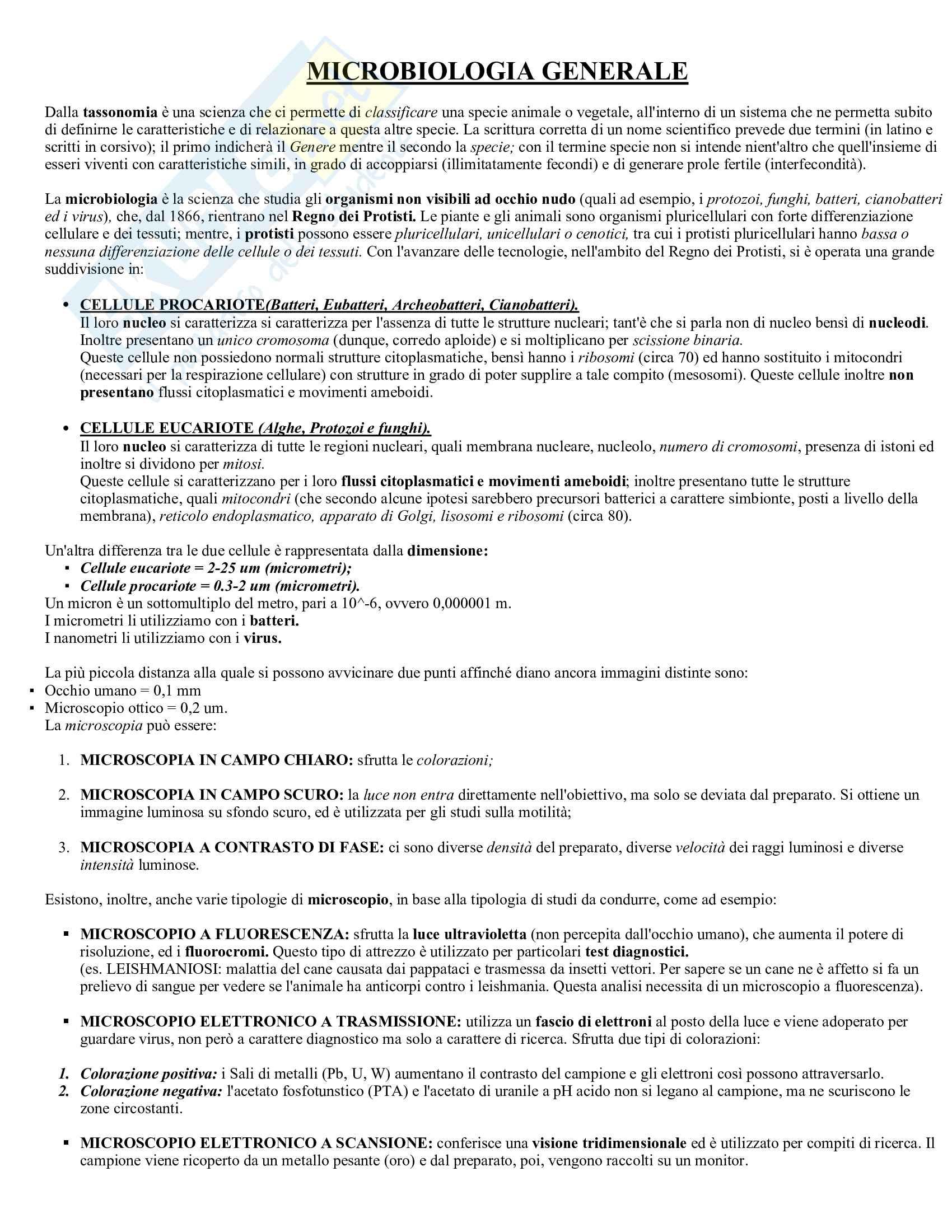Microbiologia - primo parziale Pag. 1