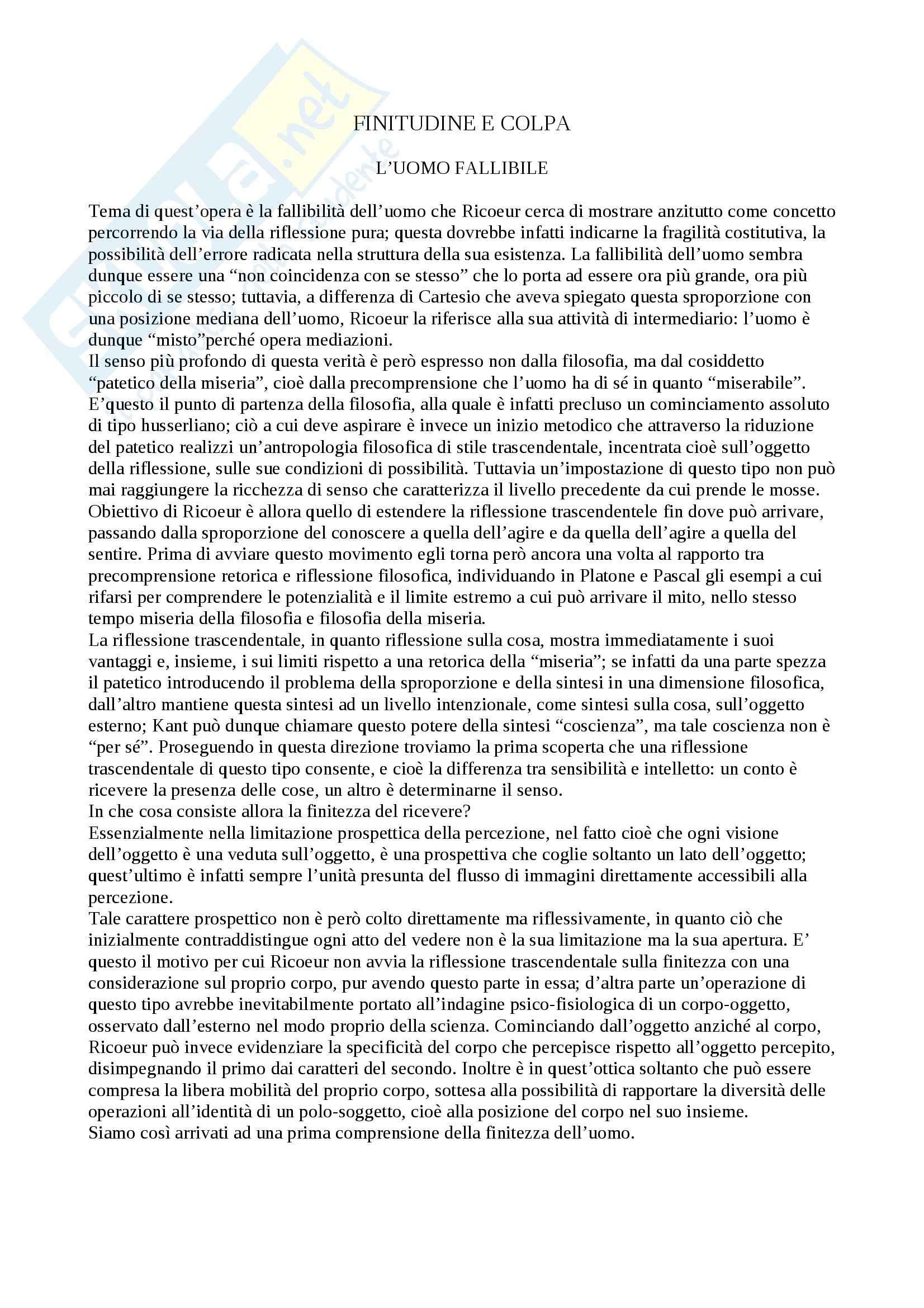 """Filosofia morale - """"L'uomo fallibile""""di Ricoeur"""