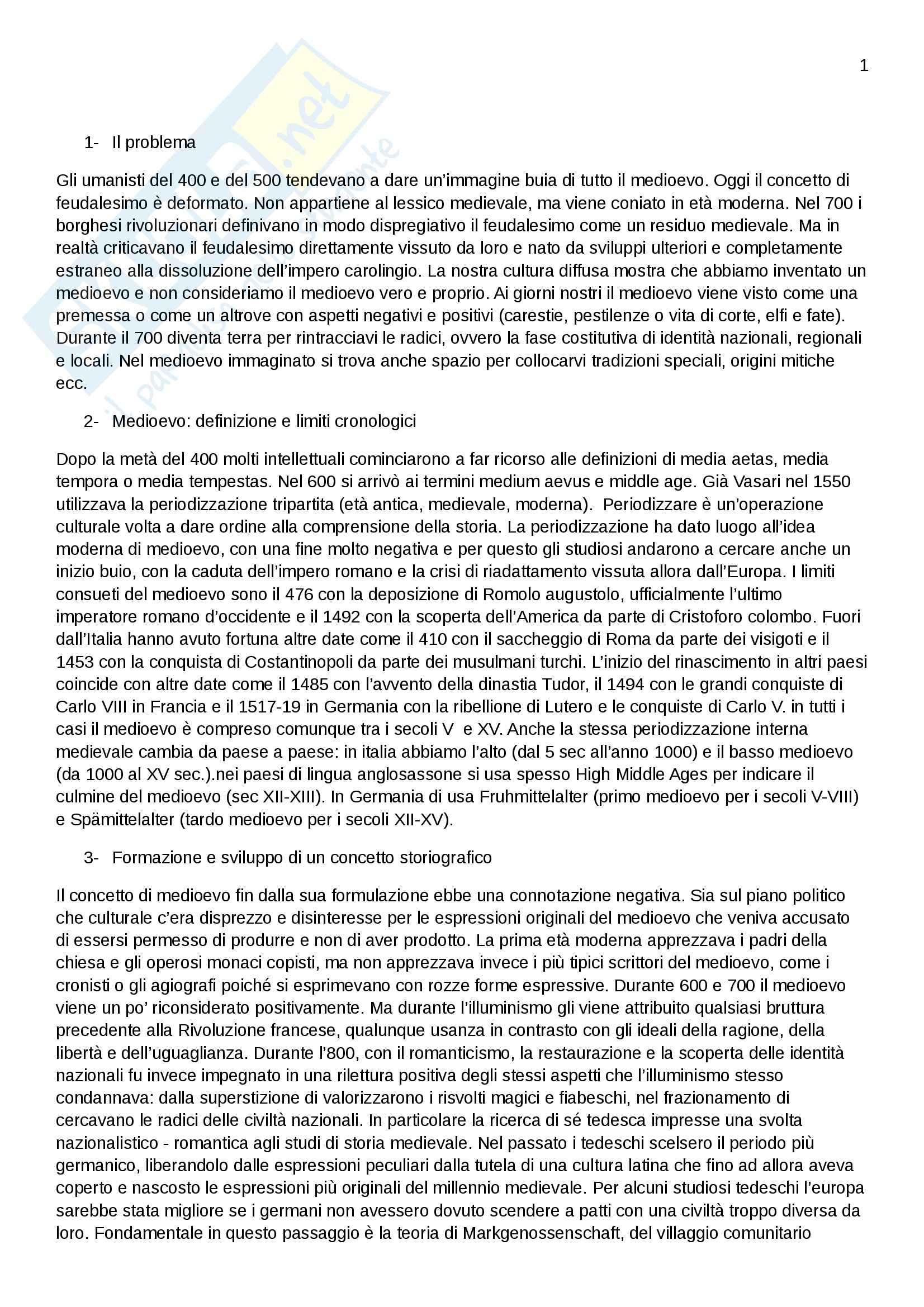 Riassunto esame Storia medievale, prof. Sergi, libro consigliato L'idea di medioevo, Sergi