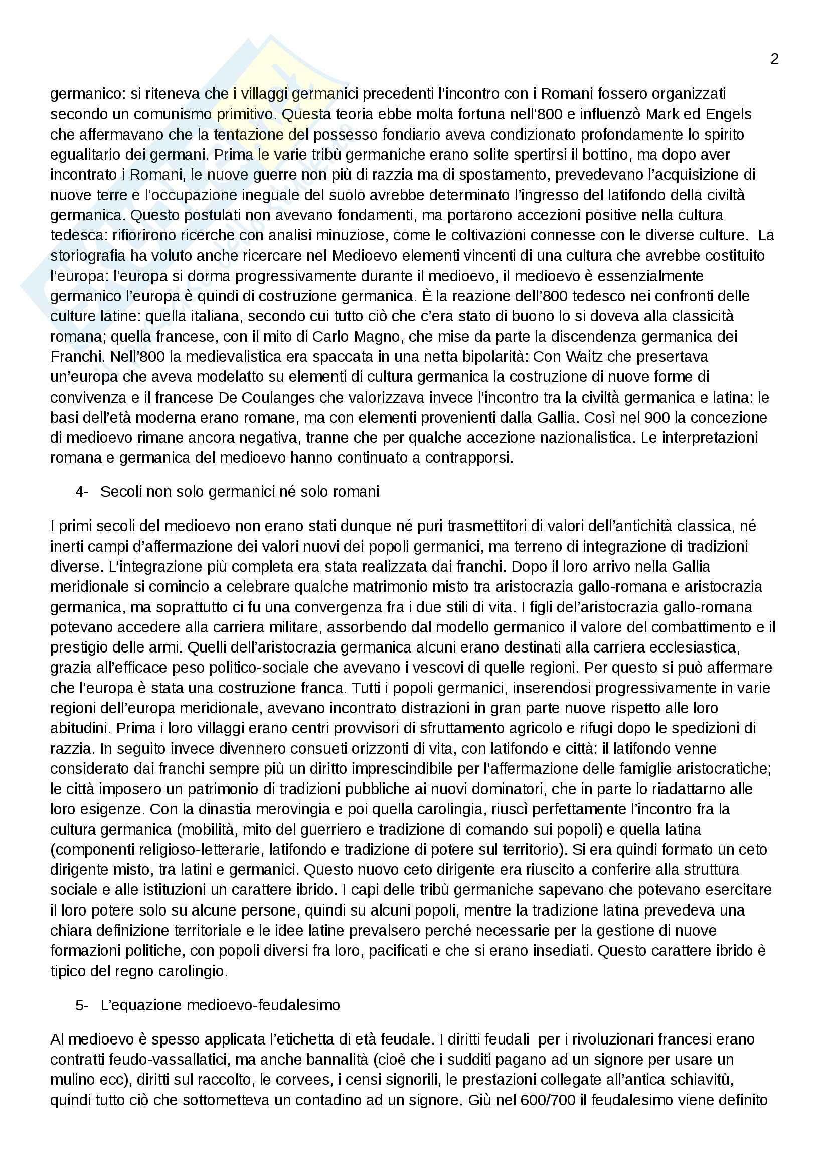 Riassunto esame Storia medievale, prof. Sergi, libro consigliato L'idea di medioevo, Sergi Pag. 2