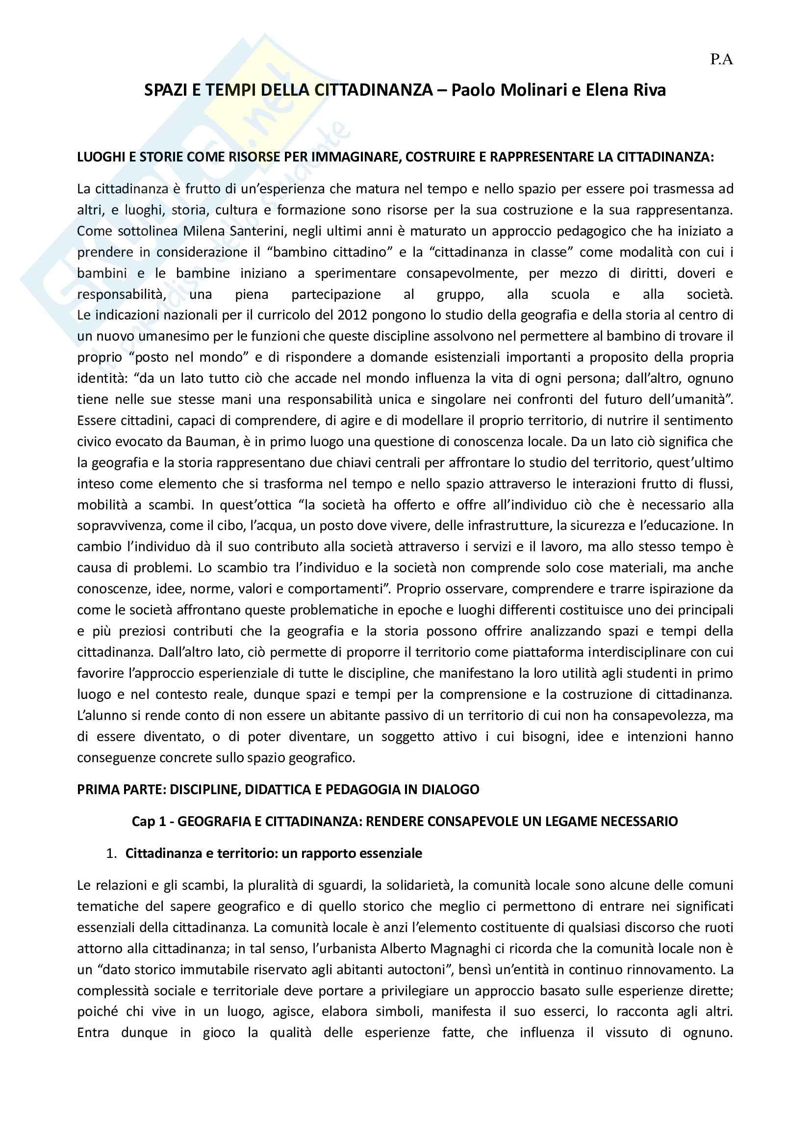 Riassunto esame di geografia, prof. Molinari, libro consigliato Spazi e tempi per la cittadinanza, Molinari, Riva