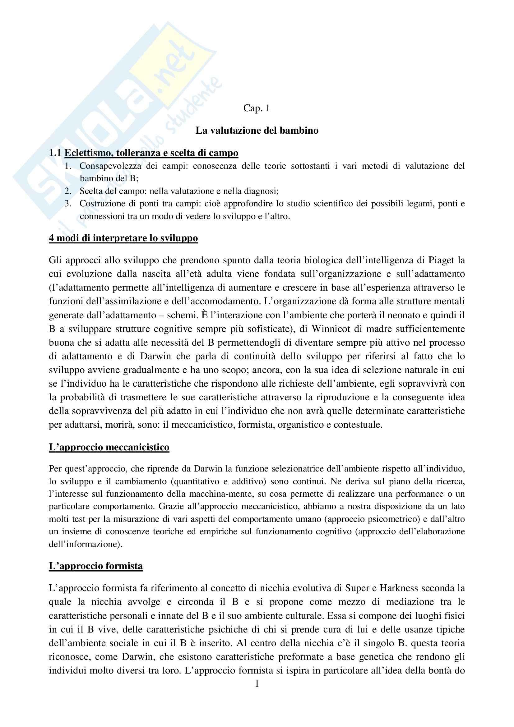 Riassunto esame Osservazione e Valutazione dello Sviluppo, prof. Costantini, libro consigliato La Valutazione del Bambino, Axia, Bonichini