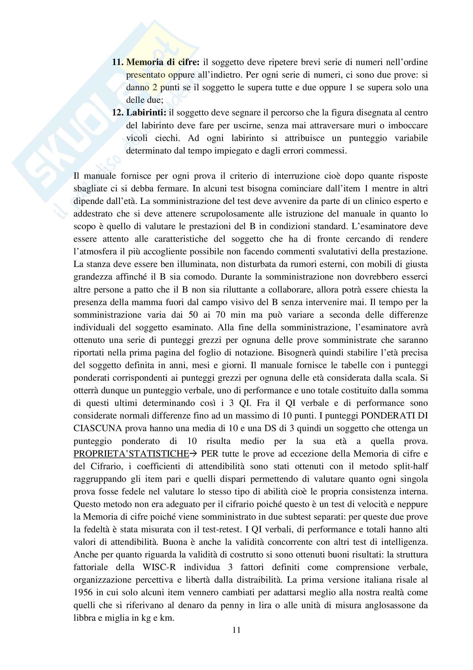 Riassunto esame Osservazione e Valutazione dello Sviluppo, prof. Costantini, libro consigliato La Valutazione del Bambino, Axia, Bonichini Pag. 11
