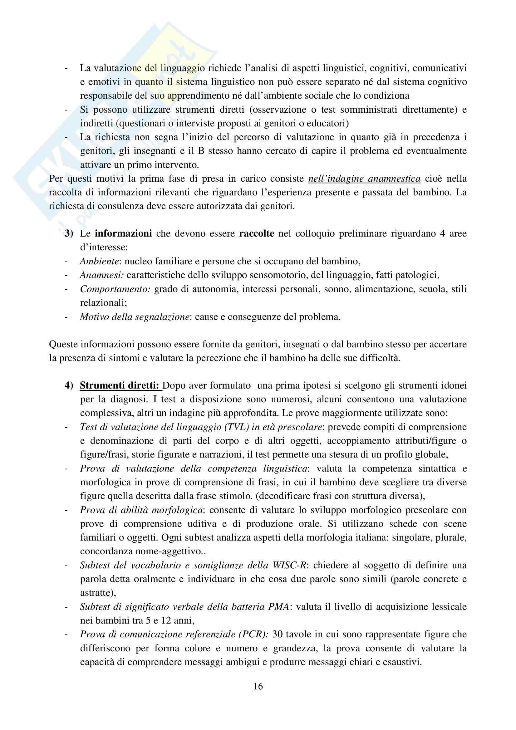 Riassunto esame Osservazione e Valutazione dello Sviluppo, prof. Costantini, libro consigliato La Valutazione del Bambino, Axia, Bonichini Pag. 16