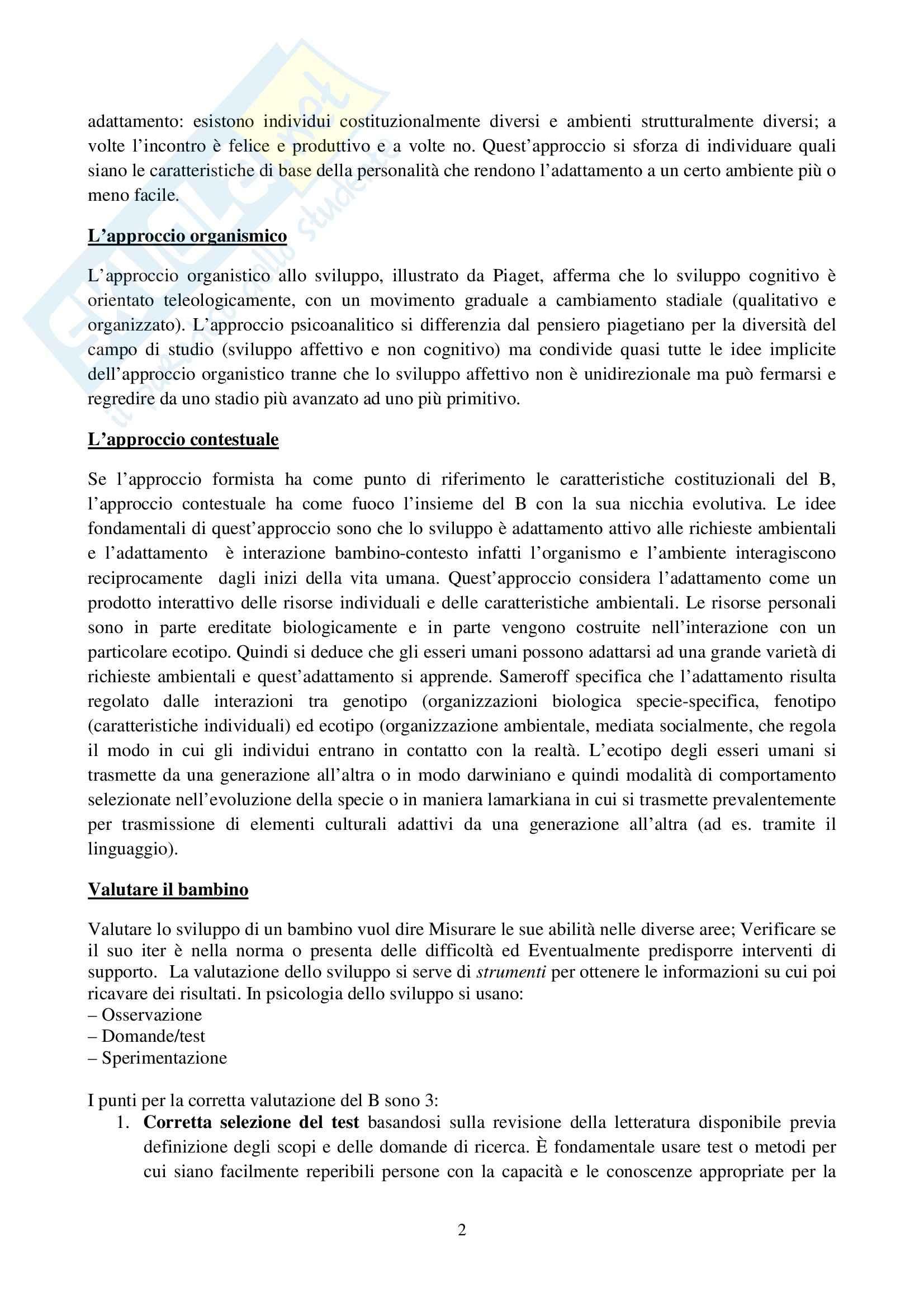 Riassunto esame Osservazione e Valutazione dello Sviluppo, prof. Costantini, libro consigliato La Valutazione del Bambino, Axia, Bonichini Pag. 2