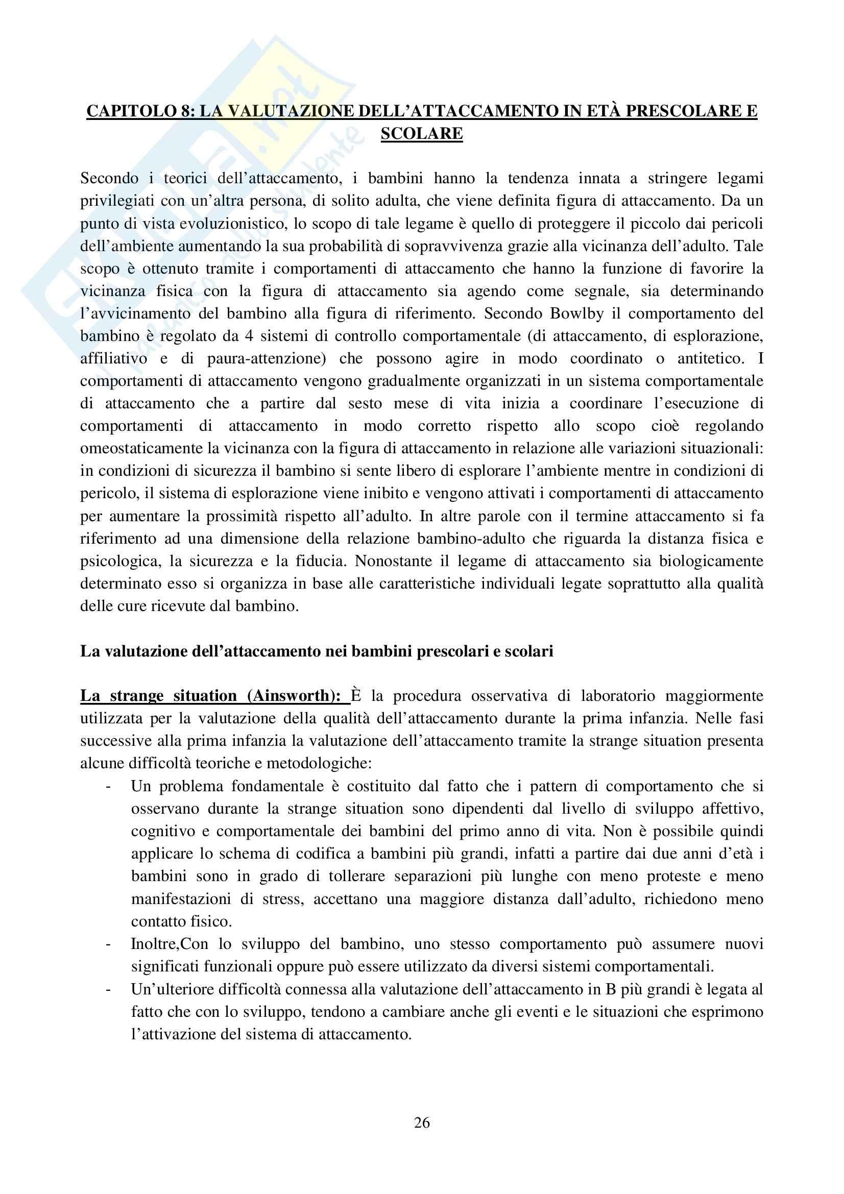 Riassunto esame Osservazione e Valutazione dello Sviluppo, prof. Costantini, libro consigliato La Valutazione del Bambino, Axia, Bonichini Pag. 26