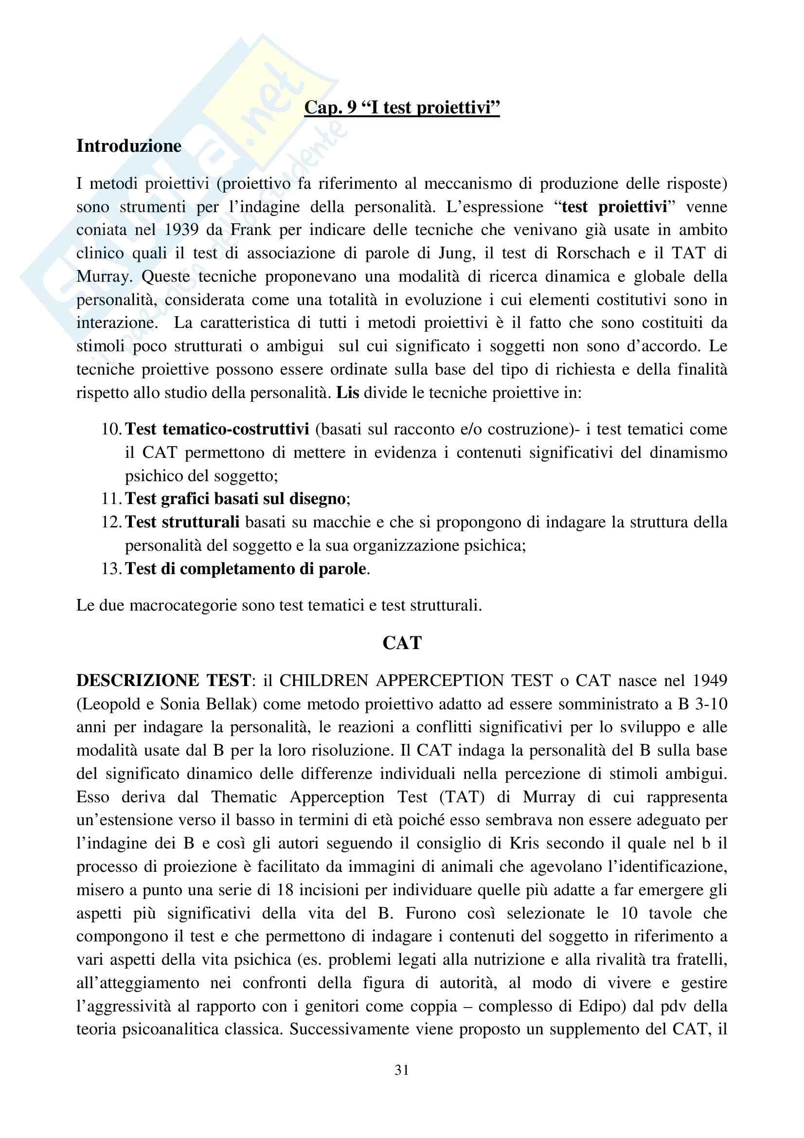 Riassunto esame Osservazione e Valutazione dello Sviluppo, prof. Costantini, libro consigliato La Valutazione del Bambino, Axia, Bonichini Pag. 31