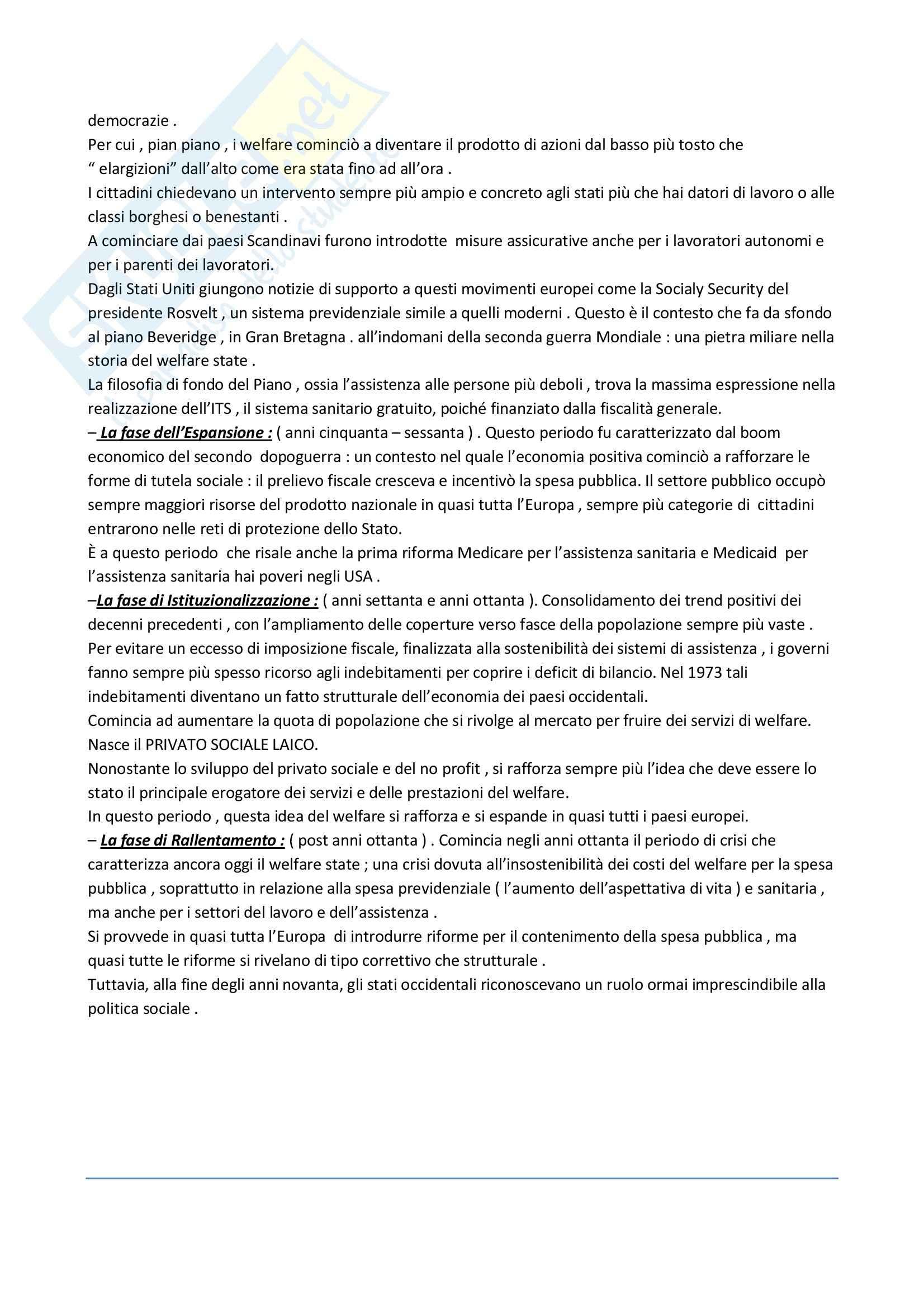Riassunto esame Politiche Sociali e Teorie dell'Organizzazione, prof. Marzo, libro consigliato Manuale di Politiche Sociali, Borzaga, Fazzi Pag. 2