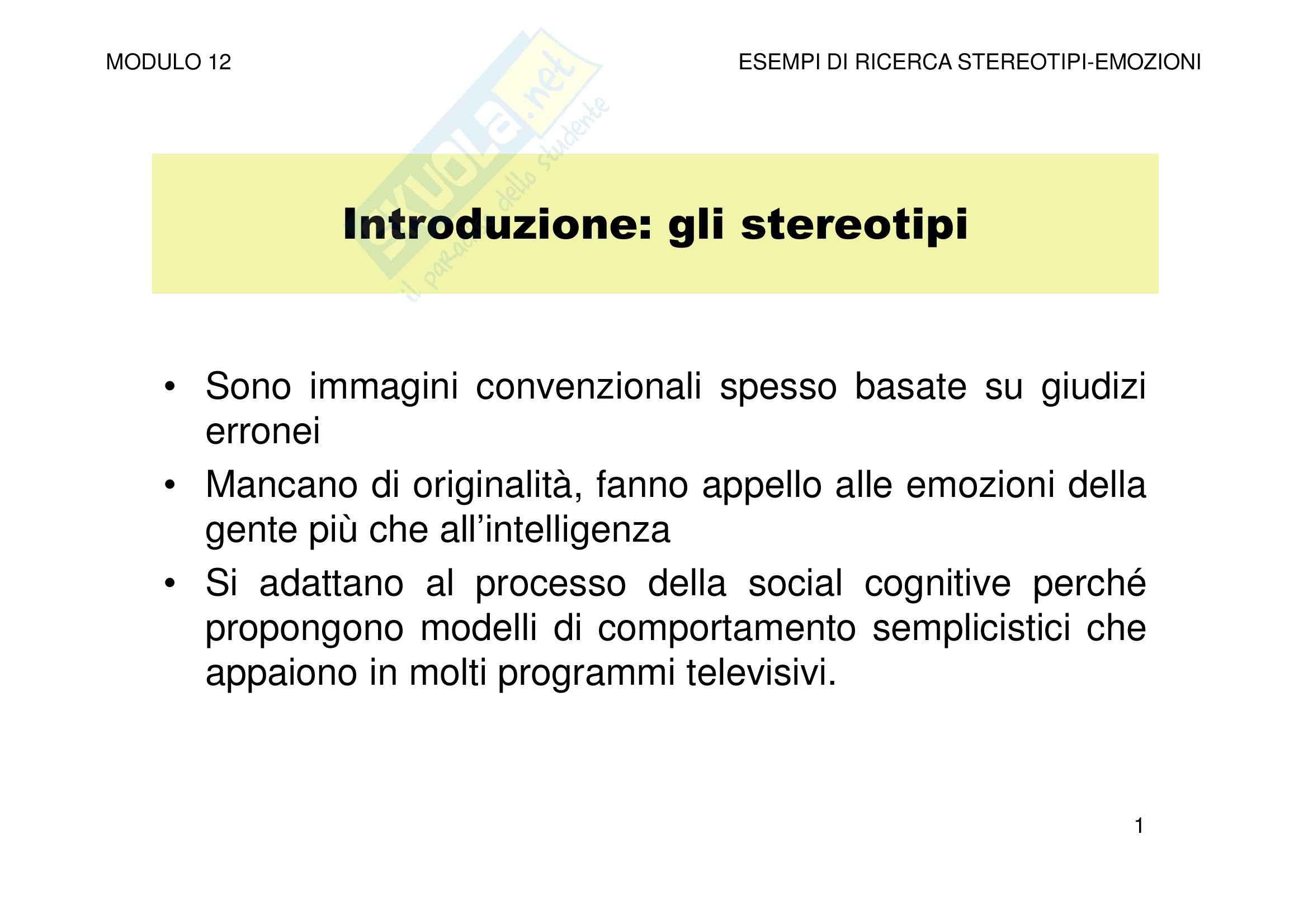 Esempi di ricerca - stereotipi-emozioni