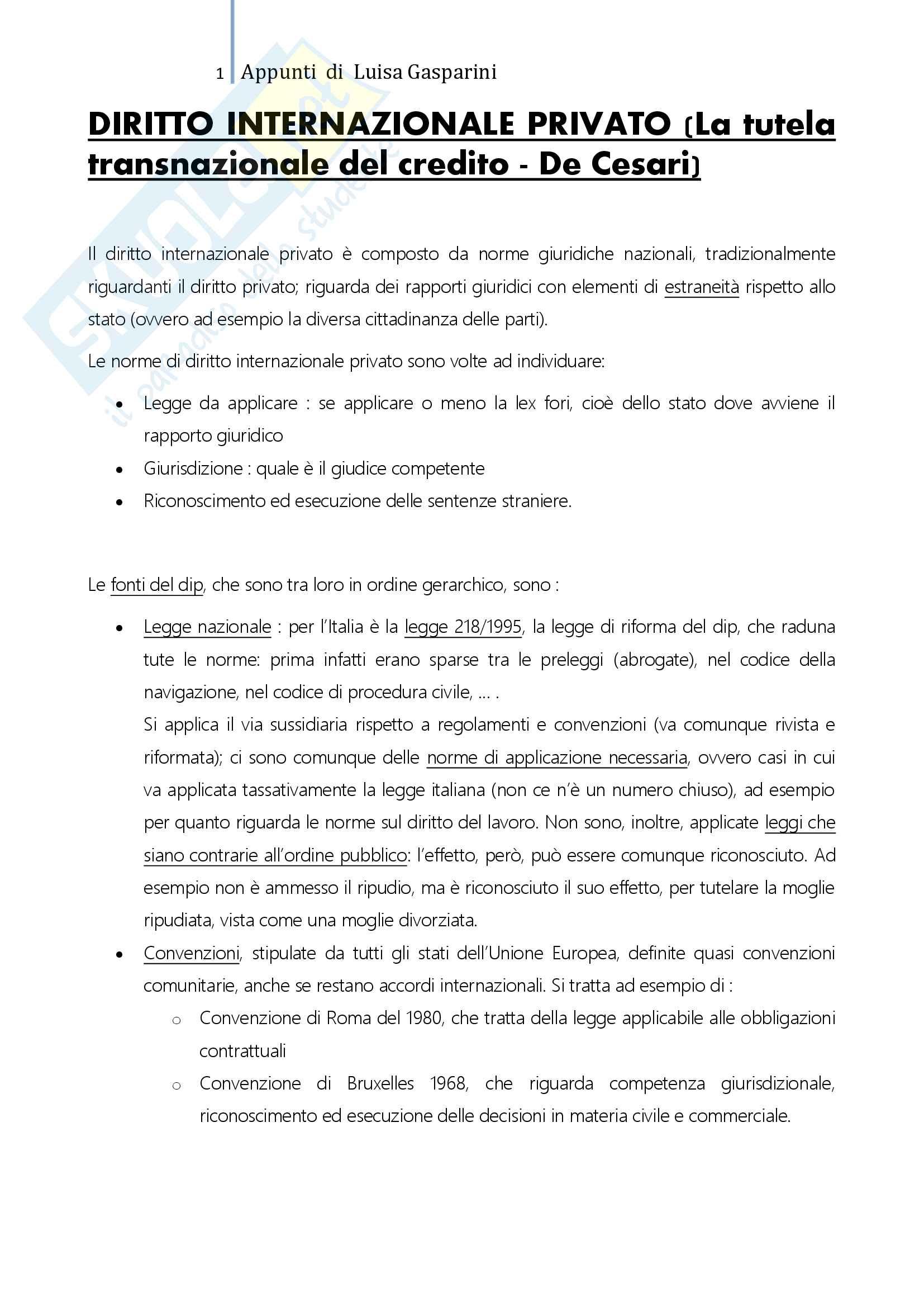 Riassunto esame Diritto Internazionale Privato, professoressa De Cesari, testo consigliato La tutela transnazionale del credito, De Cesari, Frigessi di Rattalma