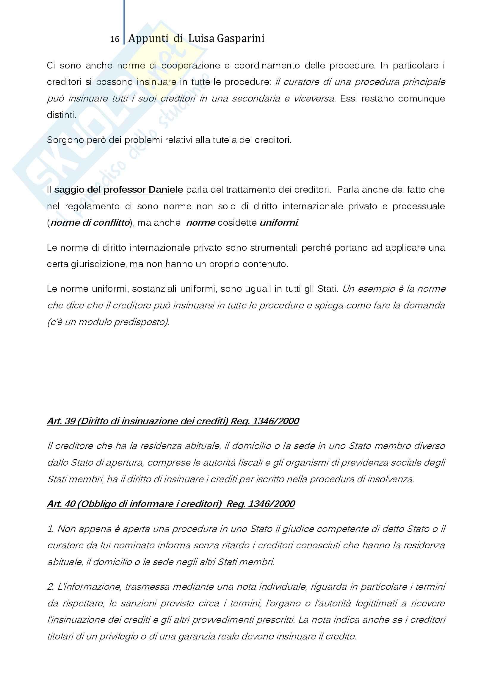 Riassunto esame Diritto Internazionale Privato, professoressa De Cesari, testo consigliato La tutela transnazionale del credito, De Cesari, Frigessi di Rattalma Pag. 16