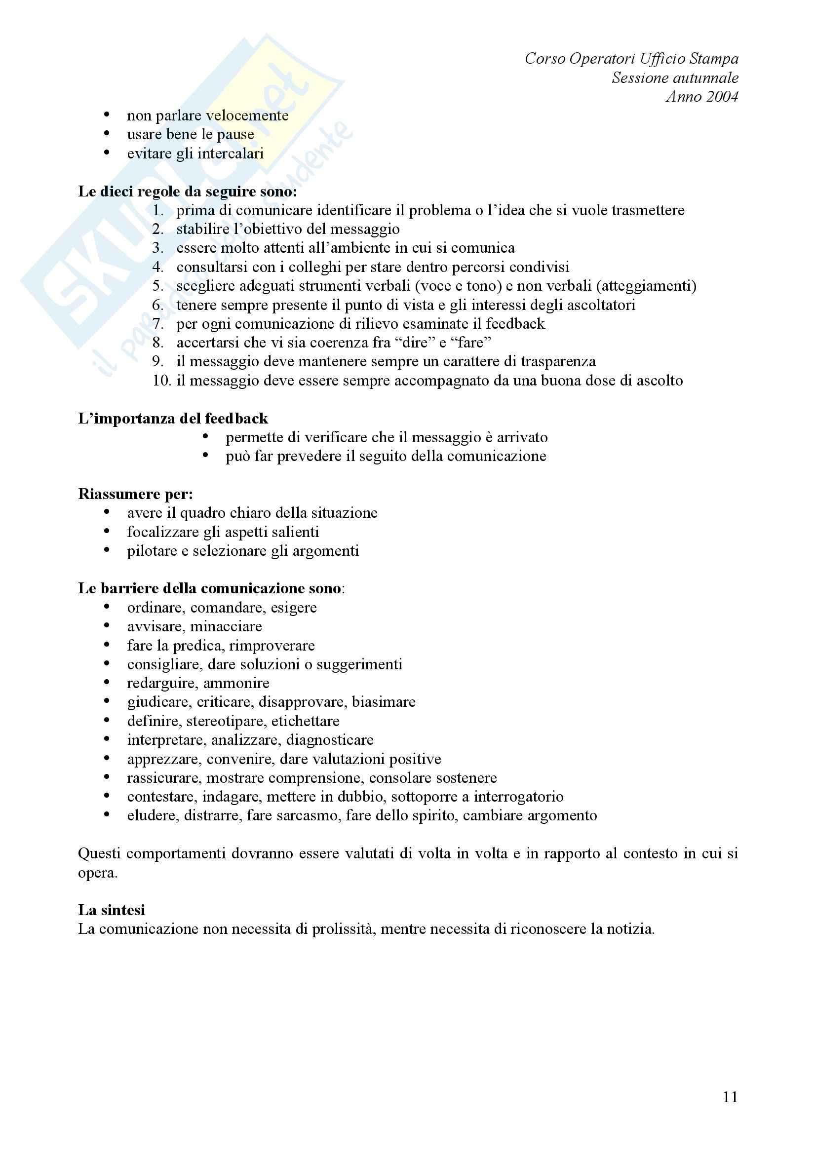 comunicazione pubblica - L'ufficio stampa Pag. 11