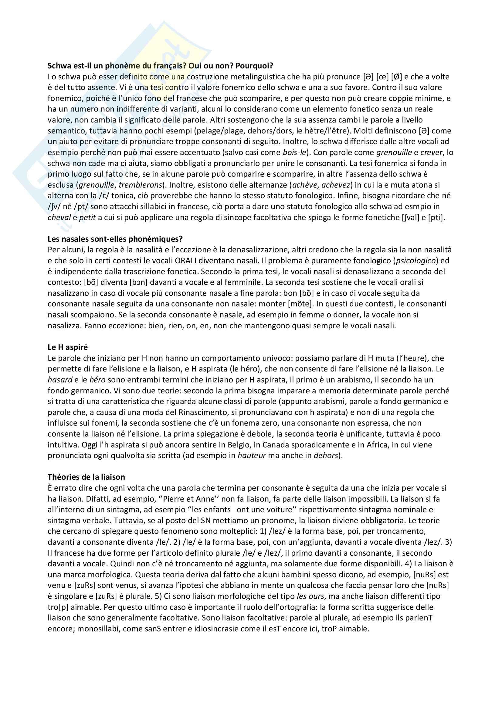 Partie A: Phonétique et Phonologie, Histoire de la Langue