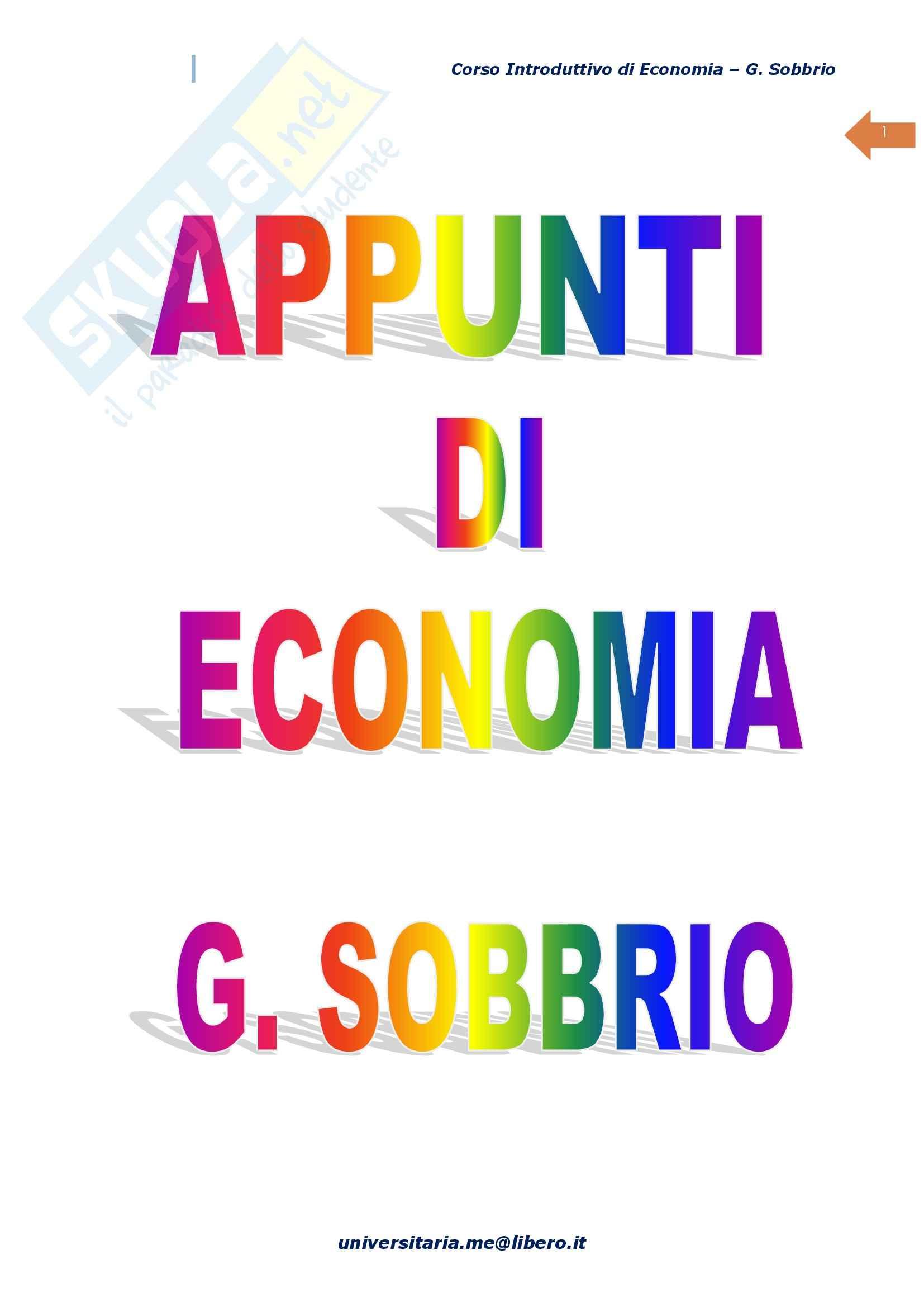 Economia Politica, Prof. Sobbrio, libro consigliato Corso introduttivo di economia - Macroeconomia