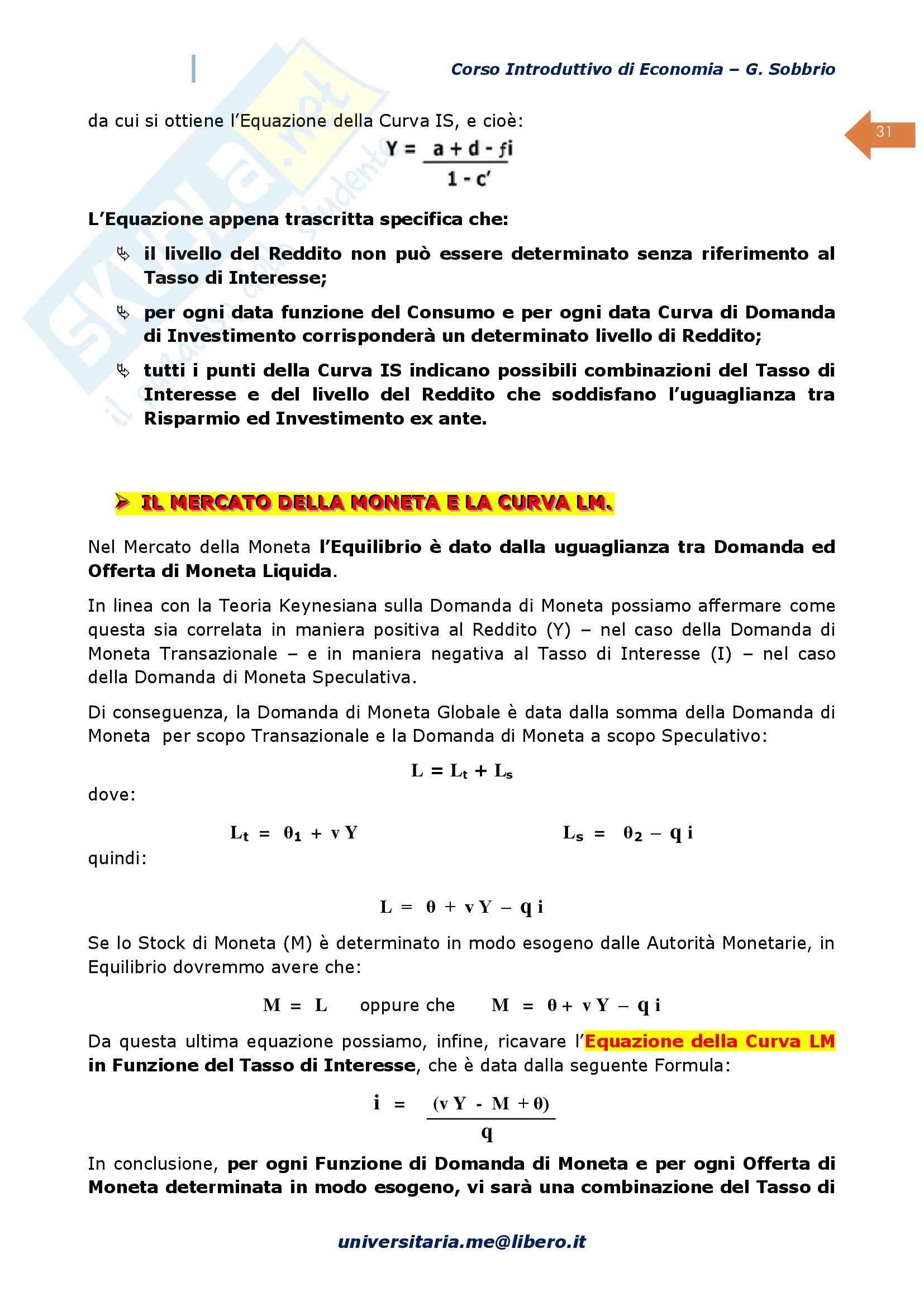 Economia Politica, Prof. Sobbrio, libro consigliato Corso introduttivo di economia - Macroeconomia Pag. 31