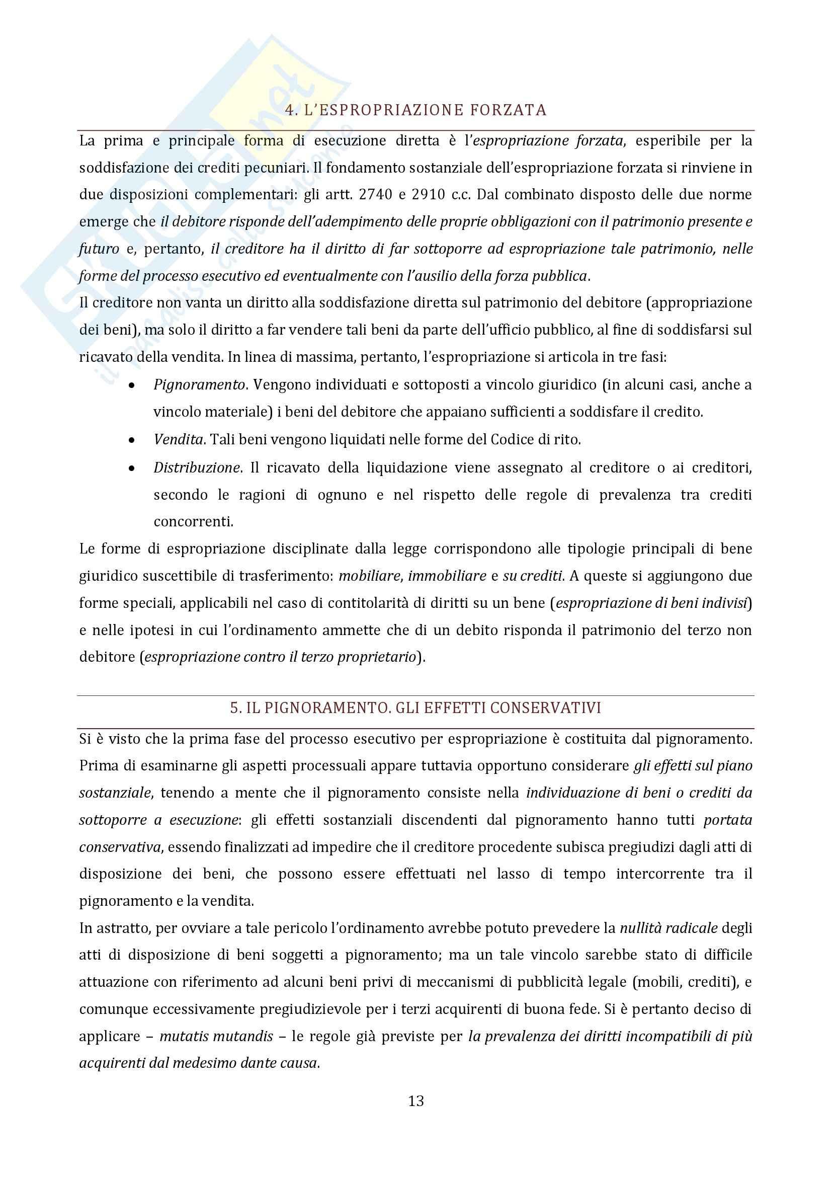 Riassunto esame Diritto Processuale Civile, prof. Vaccarella, libro consigliato Il Processo Esecutivo Pag. 11