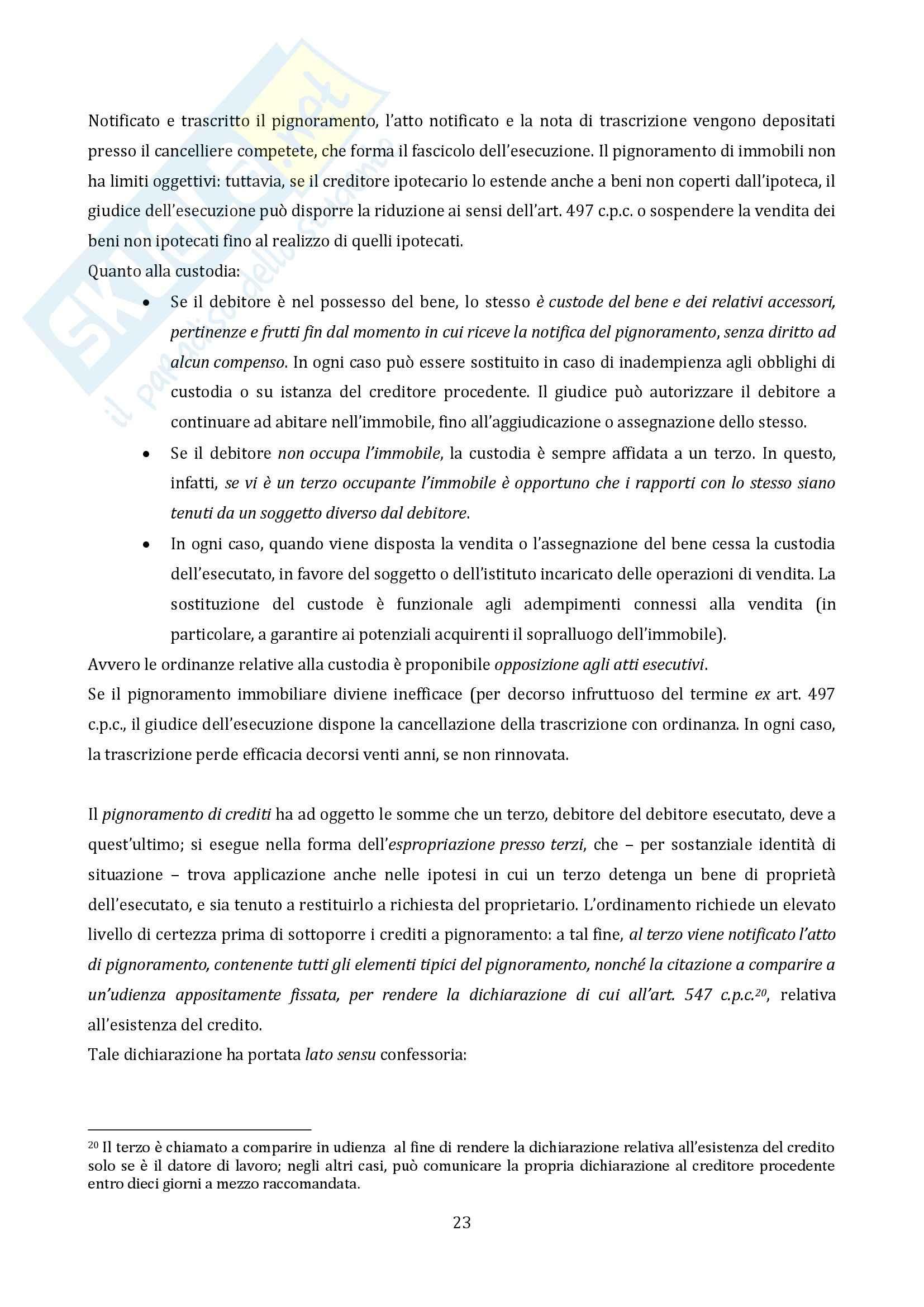 Riassunto esame Diritto Processuale Civile, prof. Vaccarella, libro consigliato Il Processo Esecutivo Pag. 21
