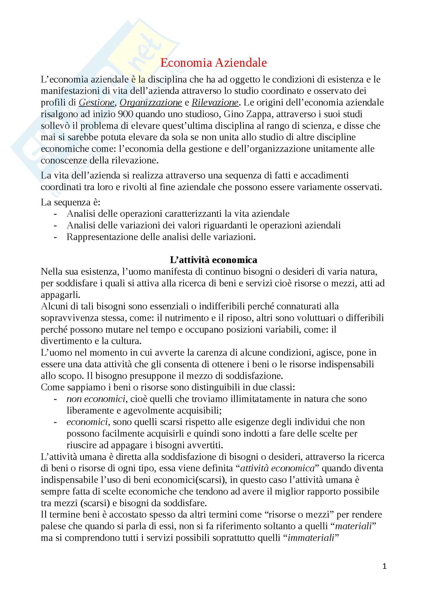 appunto A. Caldarelli Economia aziendale e ragioneria generale