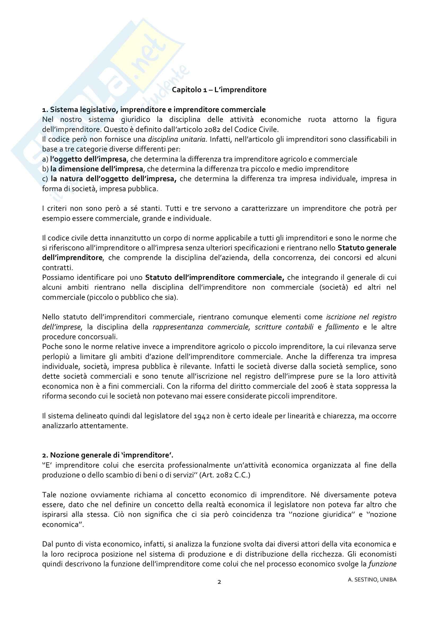 Riassunto esame Diritto Commerciale, prof. Dell'Atti, libro consigliato Diritto Commerciale: Diritto dell'Impresa di Campobasso Pag. 2