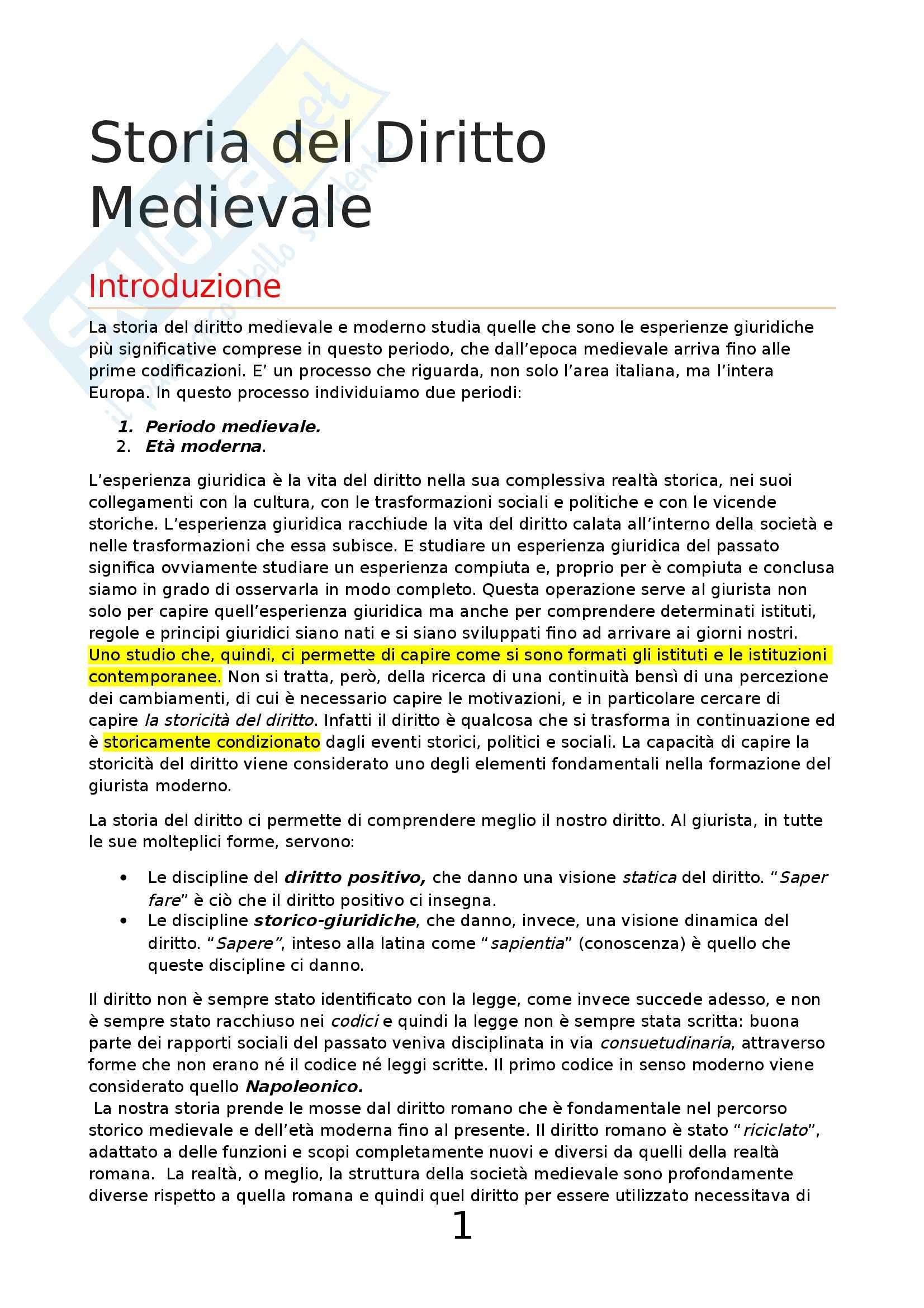 appunto M. Fortunati Storia del diritto medievale e moderno