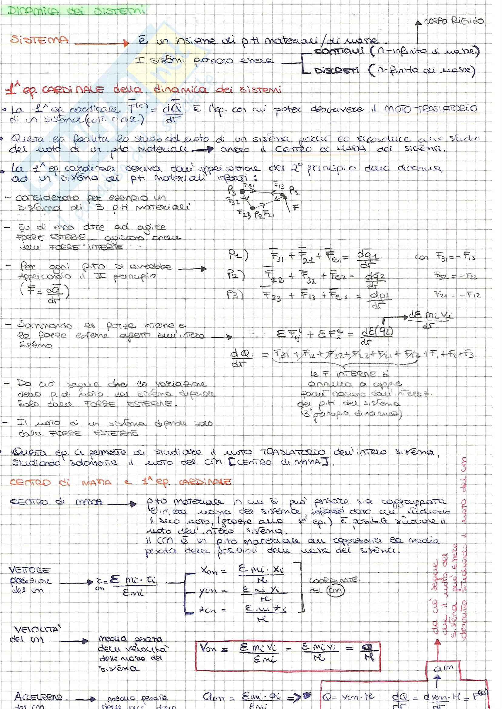 Fisica I - Meccanica dei sistemi e del corpo rigido