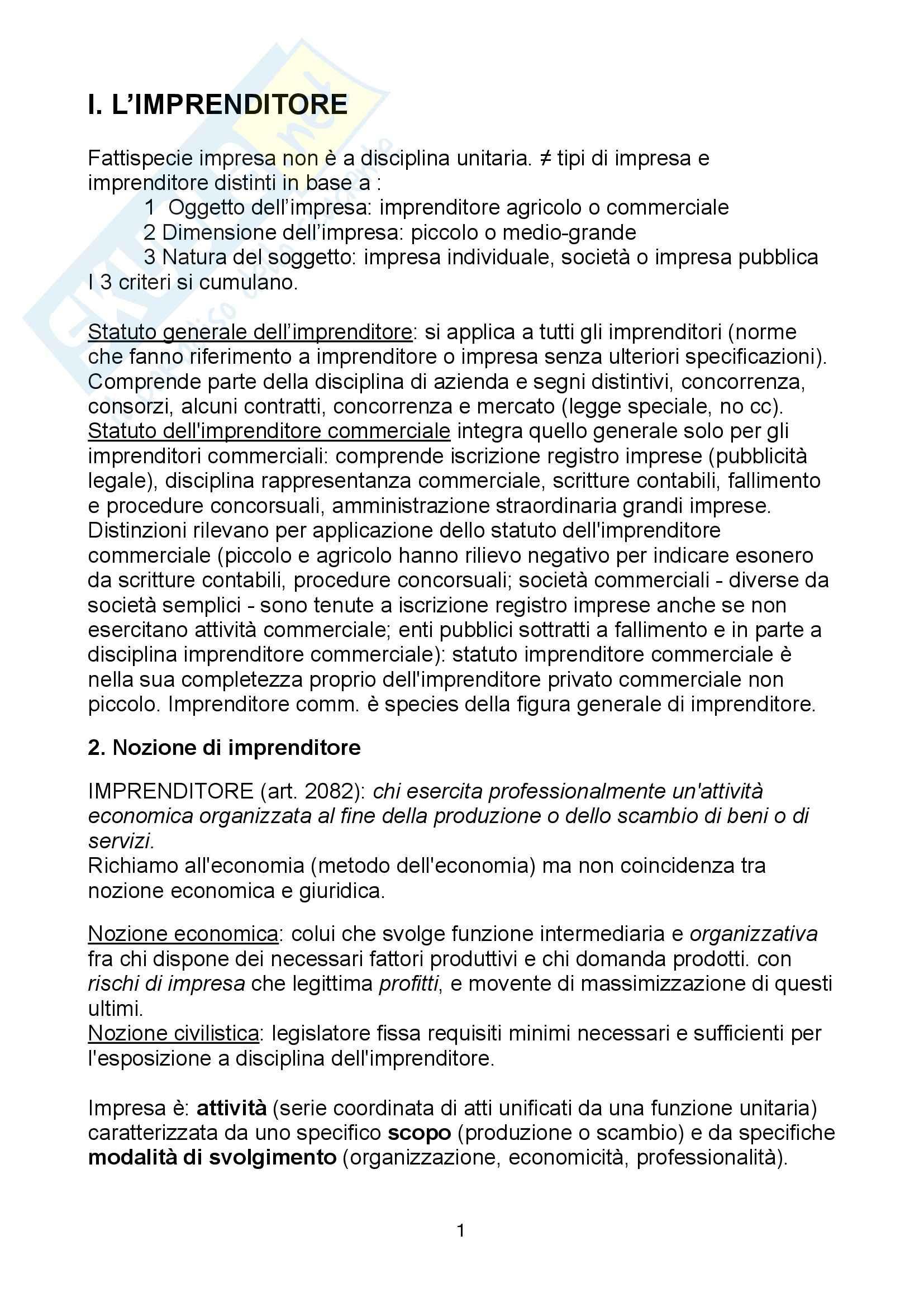 Riassunto esame Diritto, prof. Mosca, libro consigliato Manuale di diritto commerciale, Campobasso