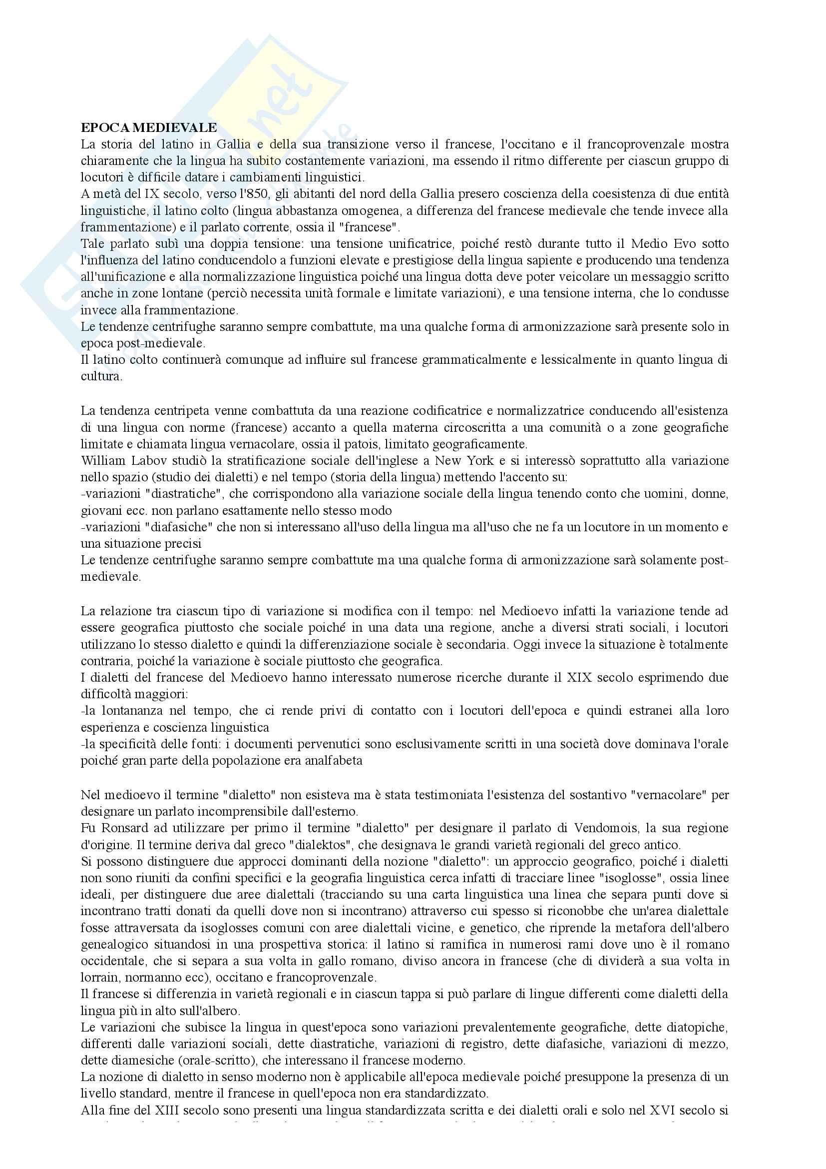 Riassunto esame Linguistica Francese I, prof. Floquet