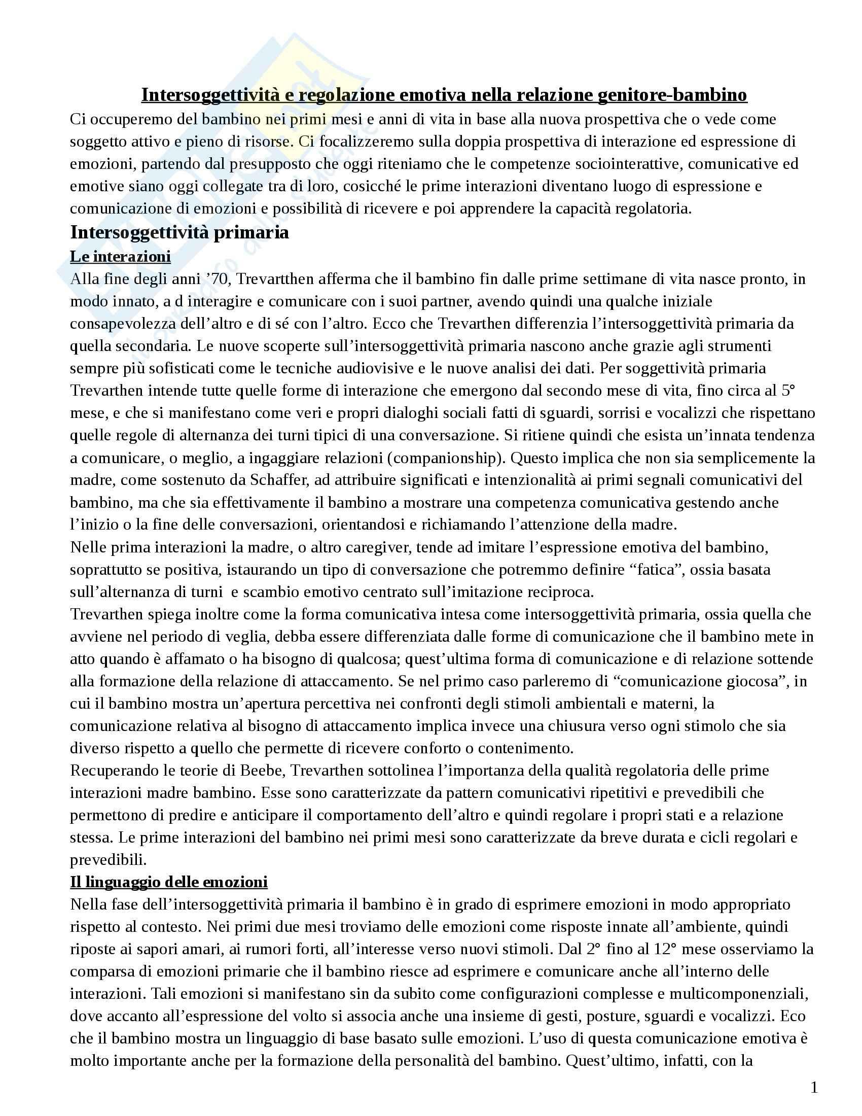 Riassunto esame Psicologia dello Sviluppo Socio-affettivo, prof. Riva, libro consigliato Il Bambino e le Sue Relazioni di Riva Crugnola