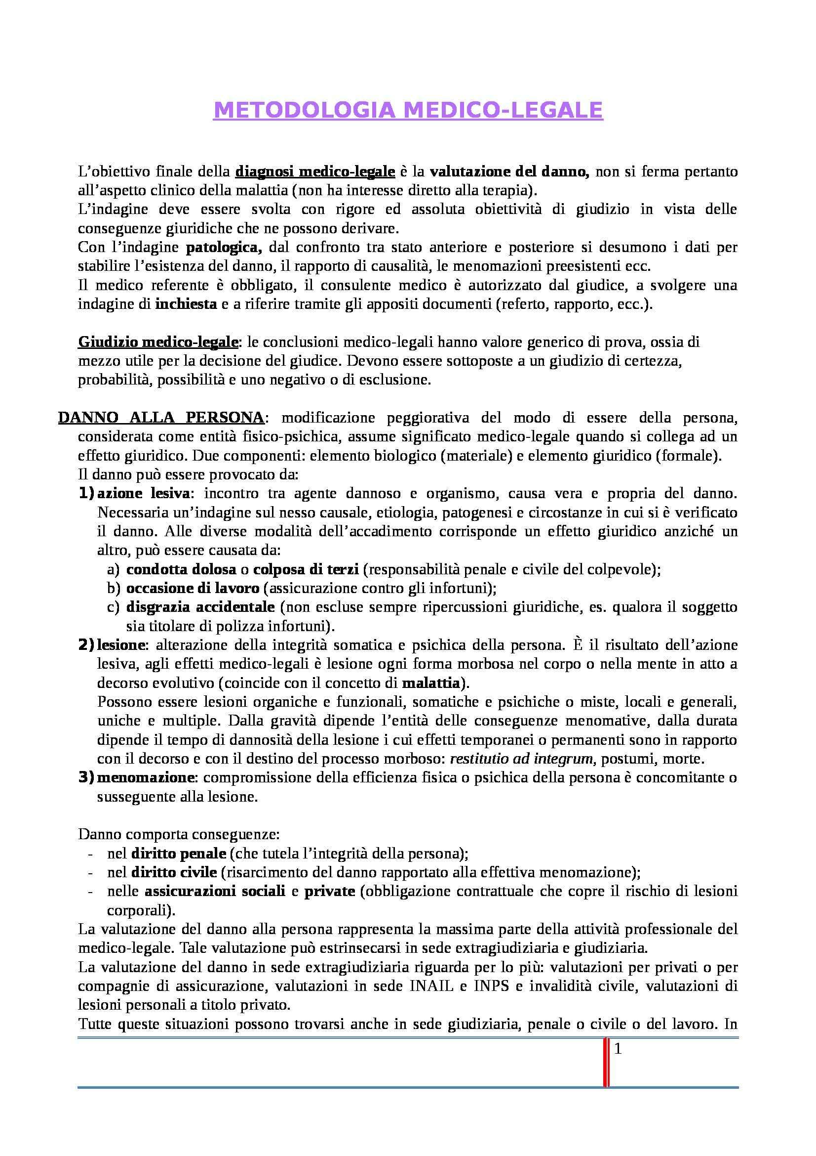Medicina Legale - Appunti