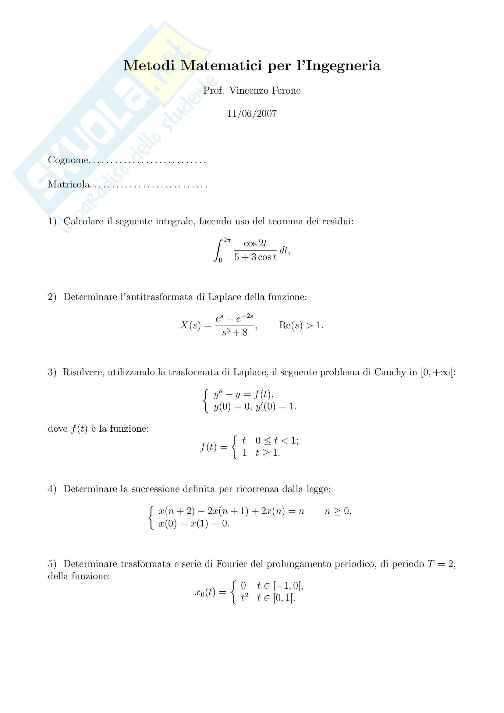 Metodi matematici per l'ingegneria - Vari esercizi