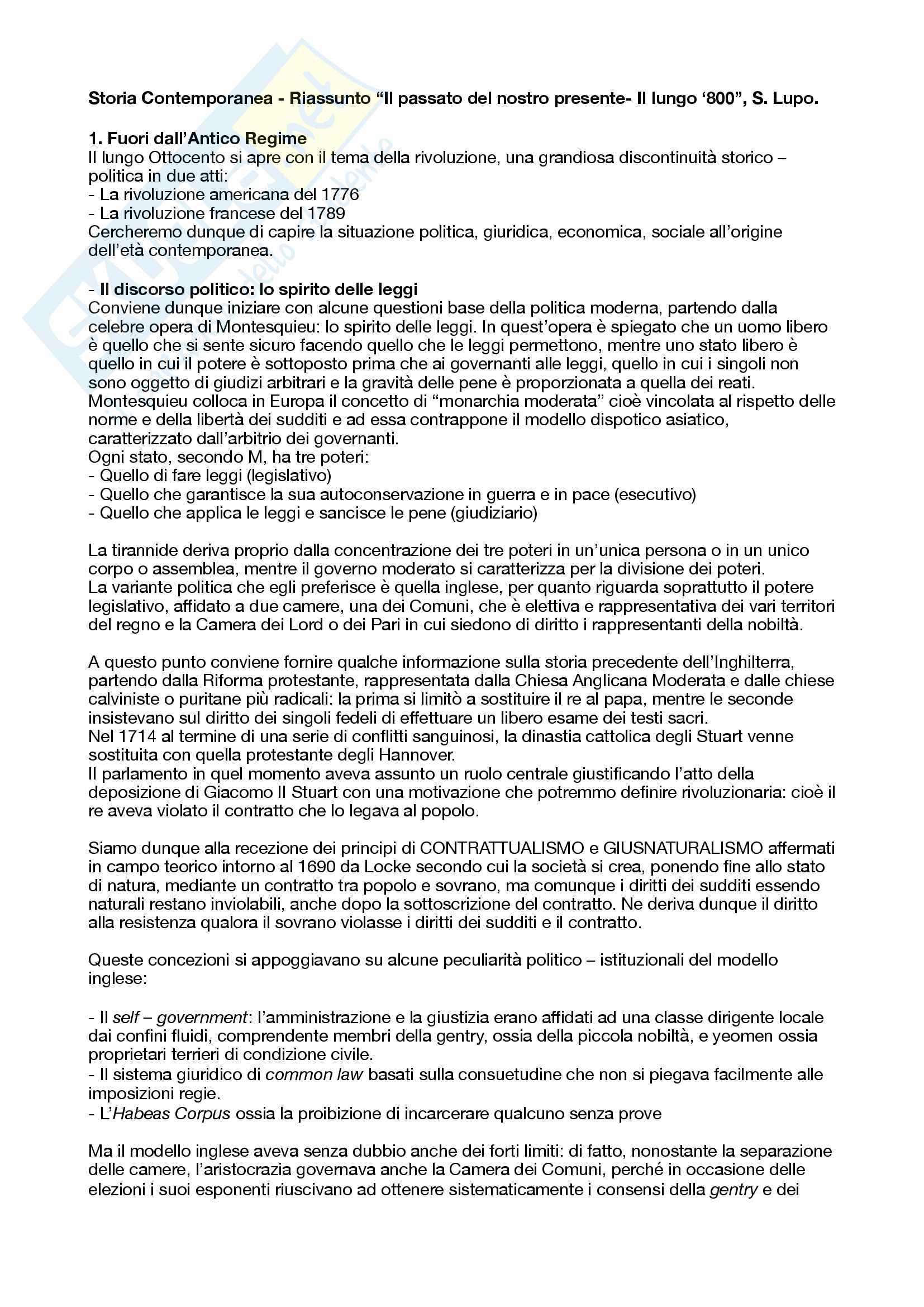 Riassunto esame Storia contemporanea, prof. Coco, libro consigliato Il passato del nostro presente - Il lungo Ottocento, Lupo
