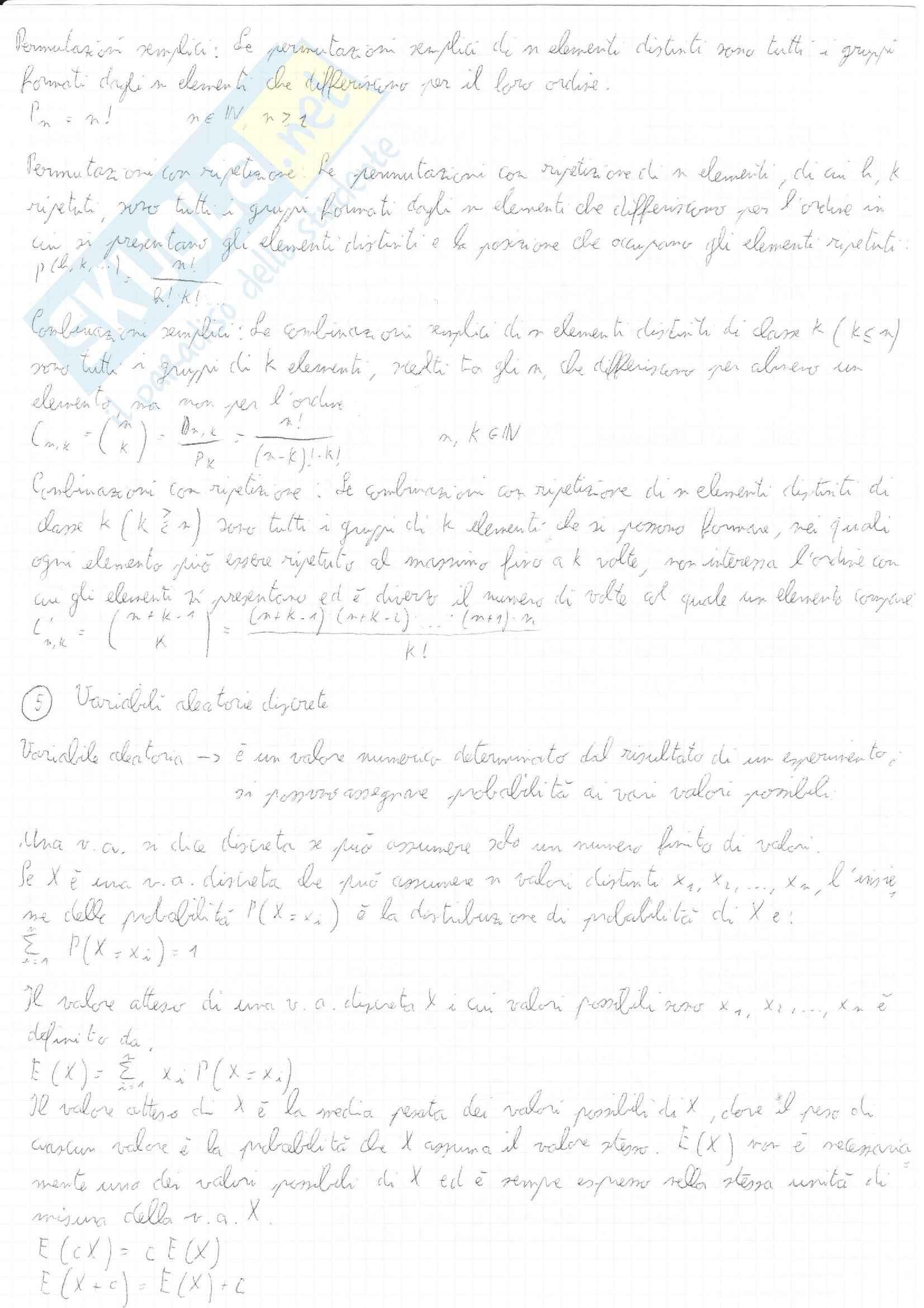 Riassunto esame Statistica, prof. De Feo, libro consigliato Introduzione alla statistica, Ross Pag. 6