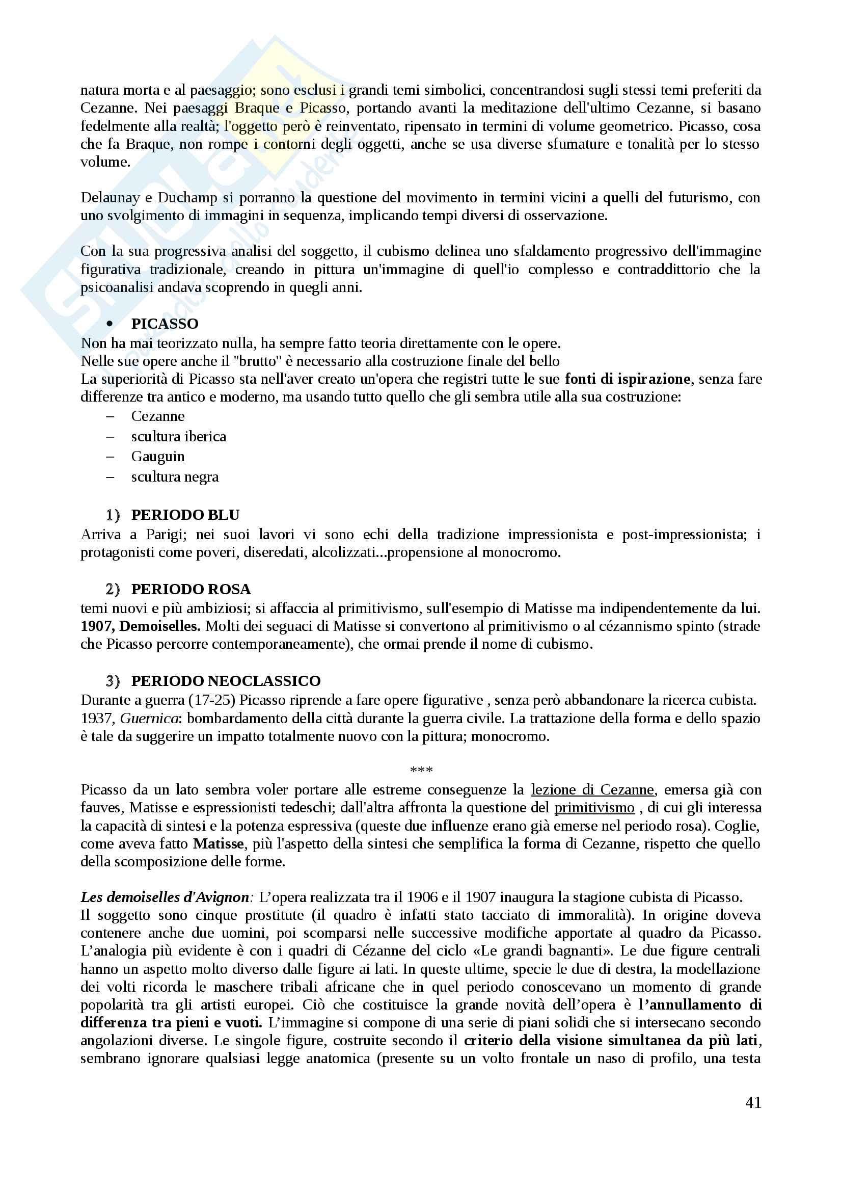 Riassunto esame arte contemporanea, docente Di Raddo, libro consigliato: De Vecchi, Cerchiari: Arte nel tempo vol III Pag. 41