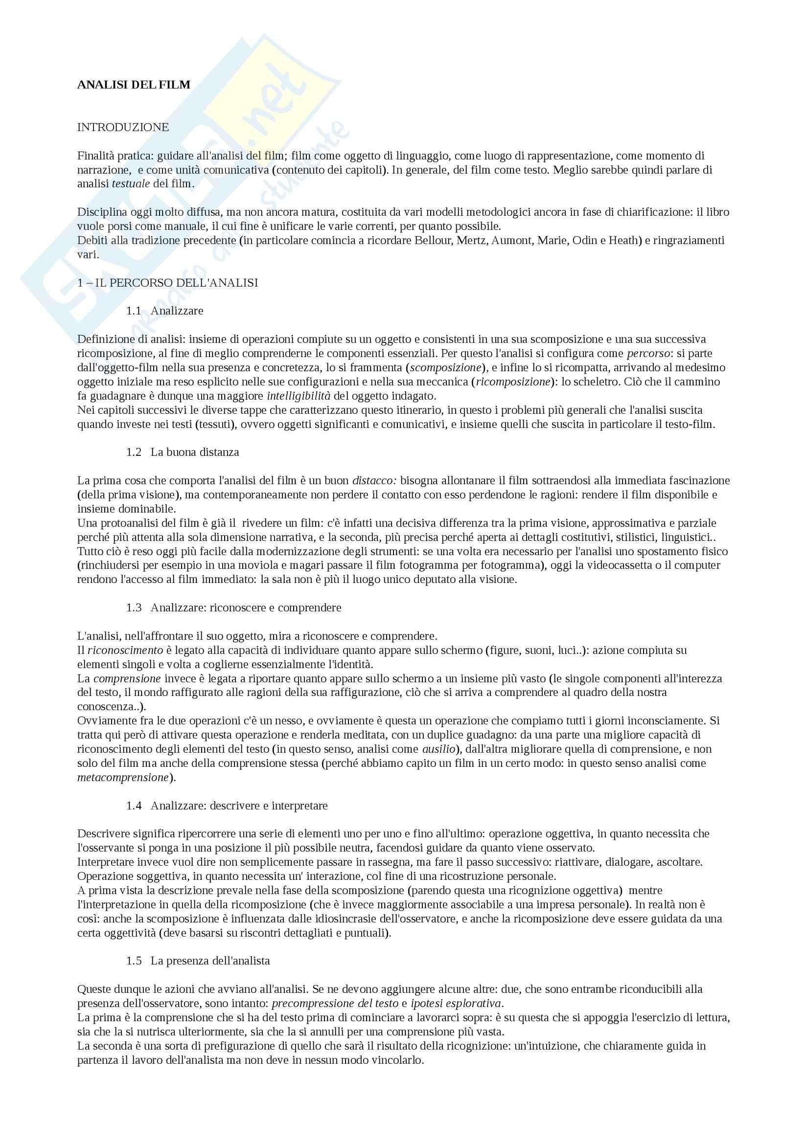 Riassunto esame analisi del film, prof. Guerrini, libro consigliato Analisi del film, Casetti, Di Chio