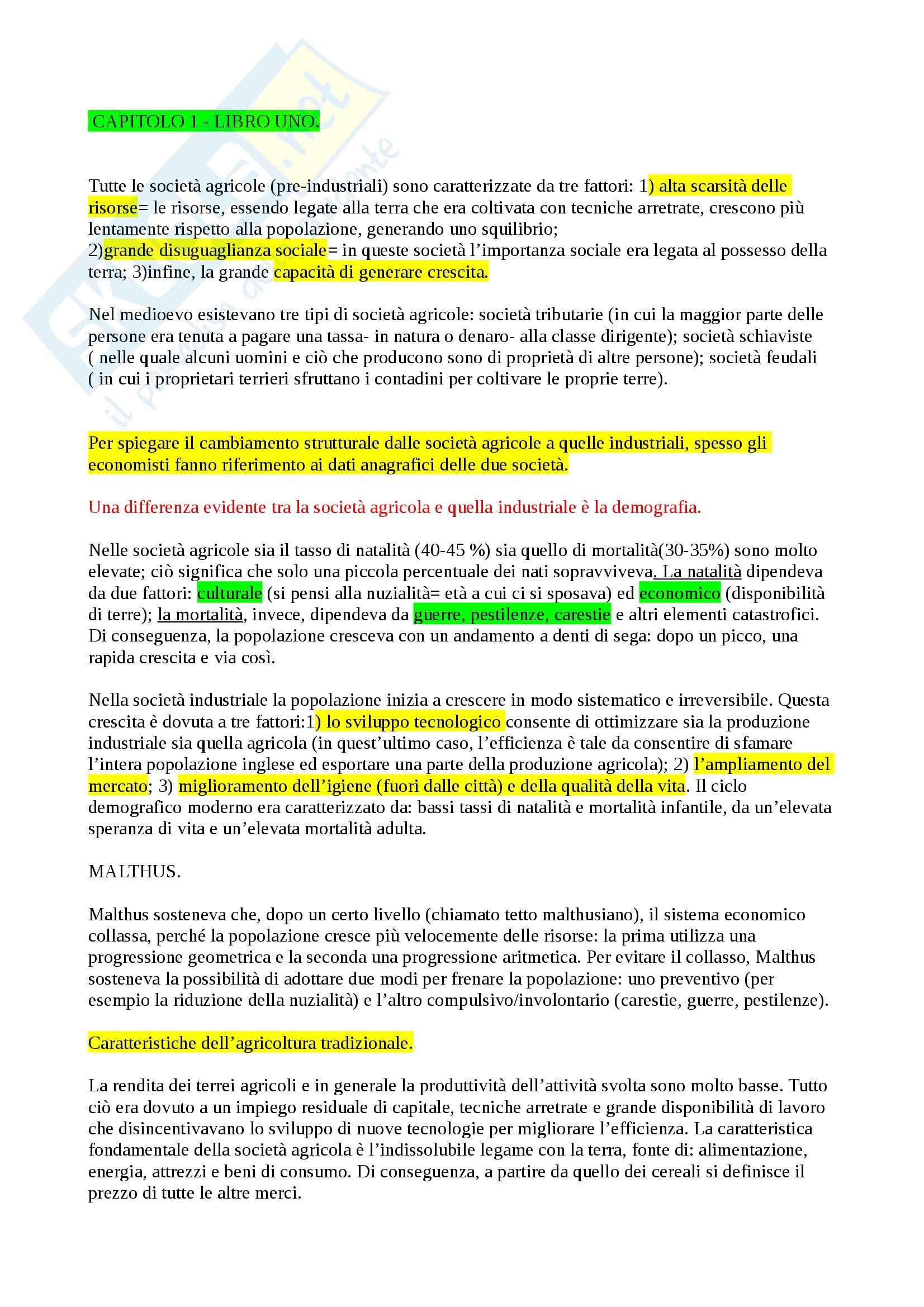Riassunto esame Storia Economica, Prof. Carera, libri consigliati Introduzione alla storia economica mondiale, Feli e L'Italia Economica, Pecorari