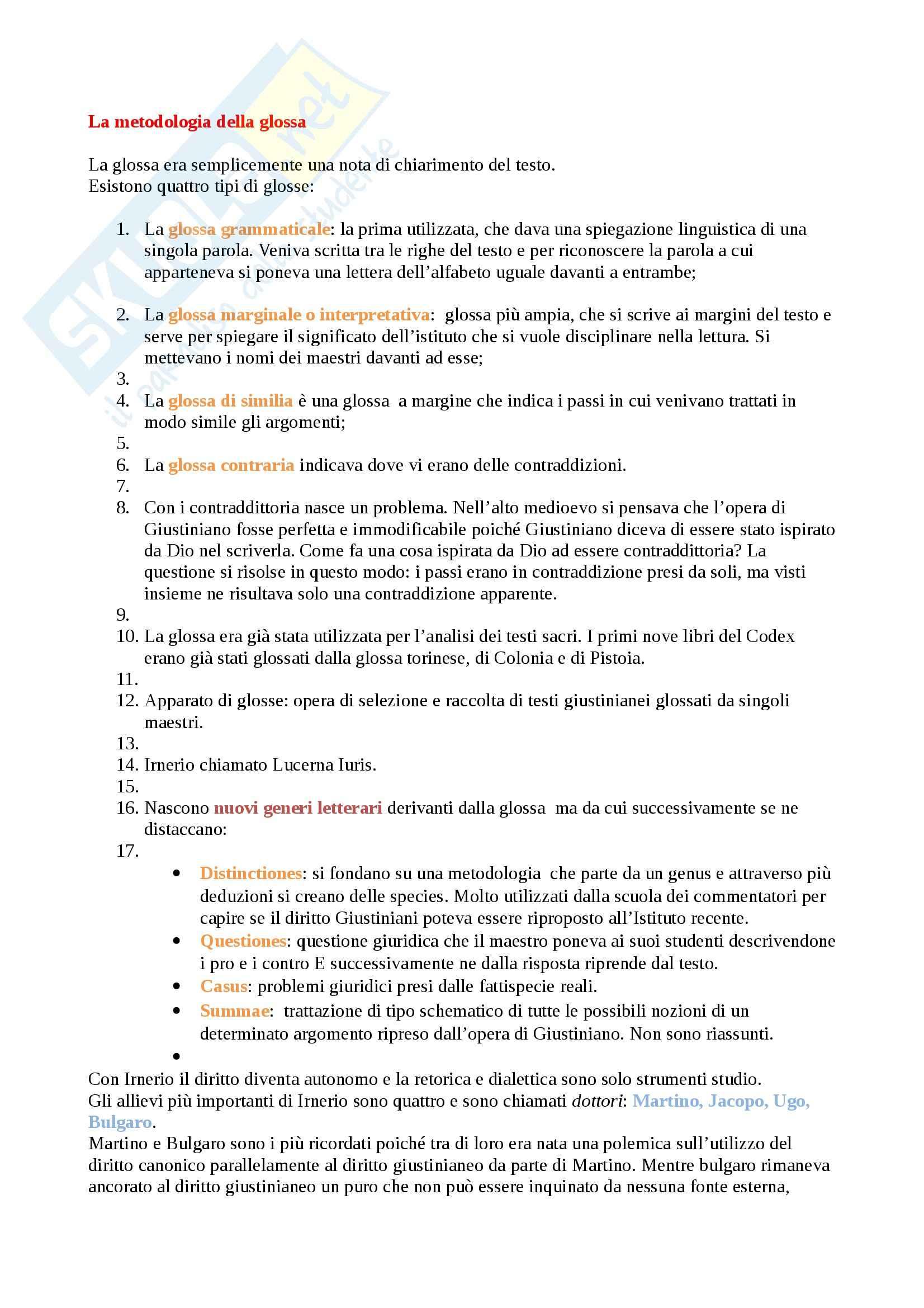 Metodologia della glossa, Storia del diritto