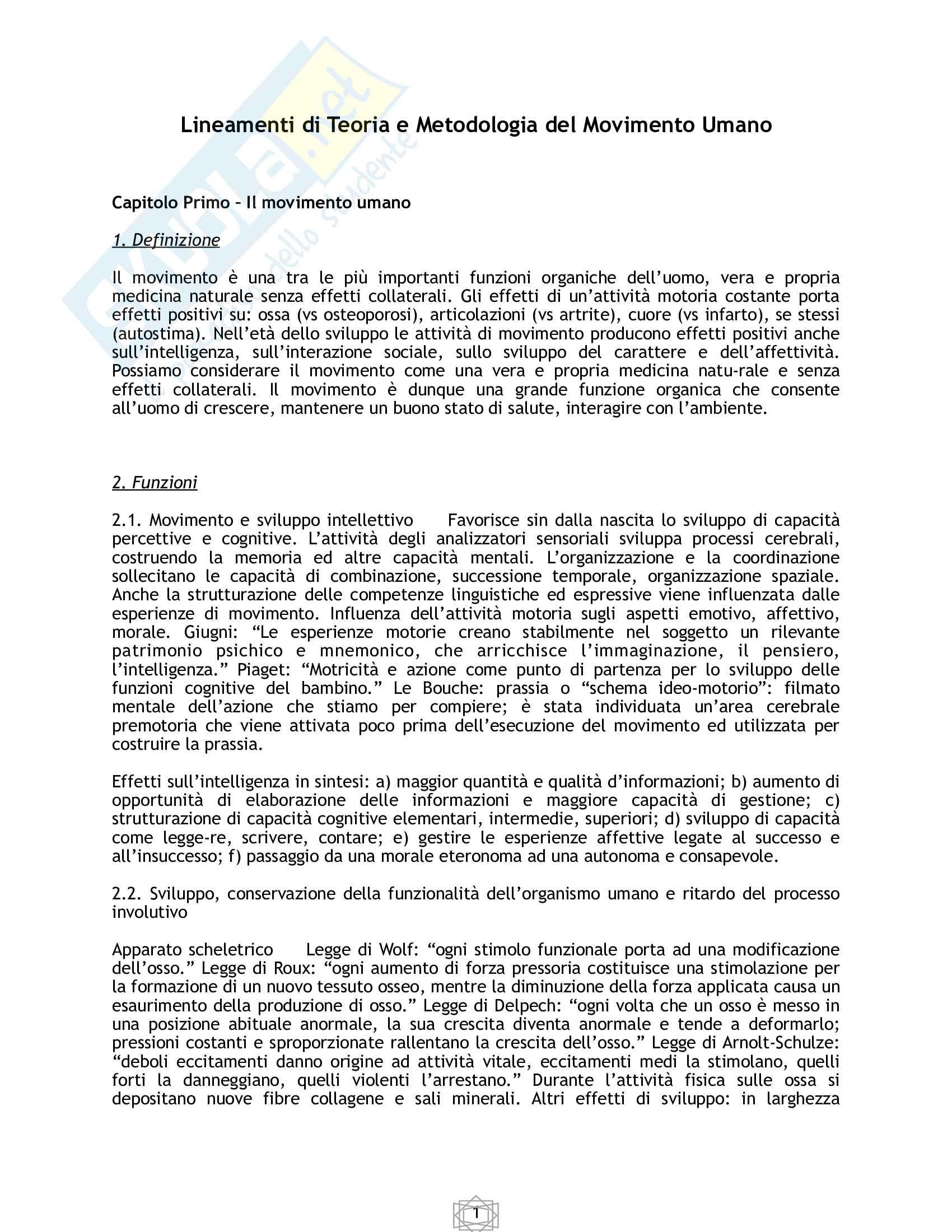 Appunti lineamenti di Teoria e Metodologia del Movimento Umano