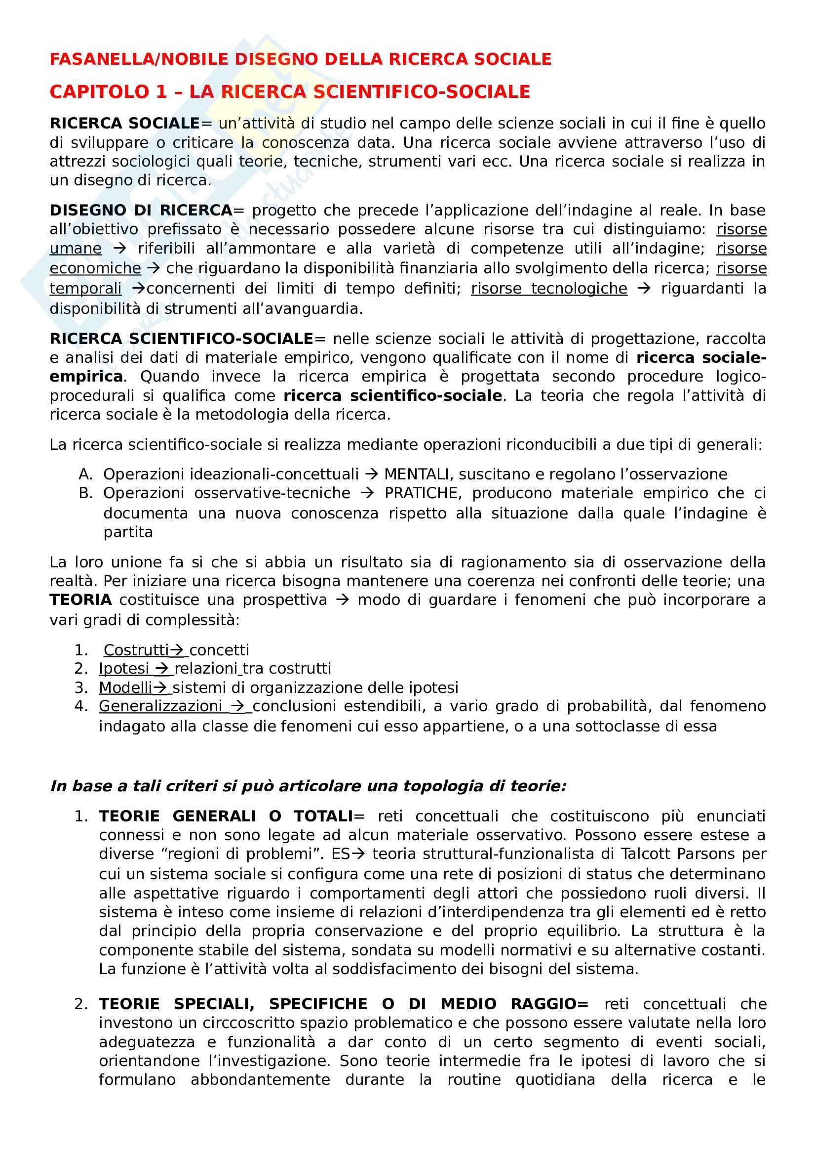 Riassunto esame metodologia della ricerca sociale, Prof Nobile, Prof Fasanella, libro consigliato Il disegno della ricerca sociale