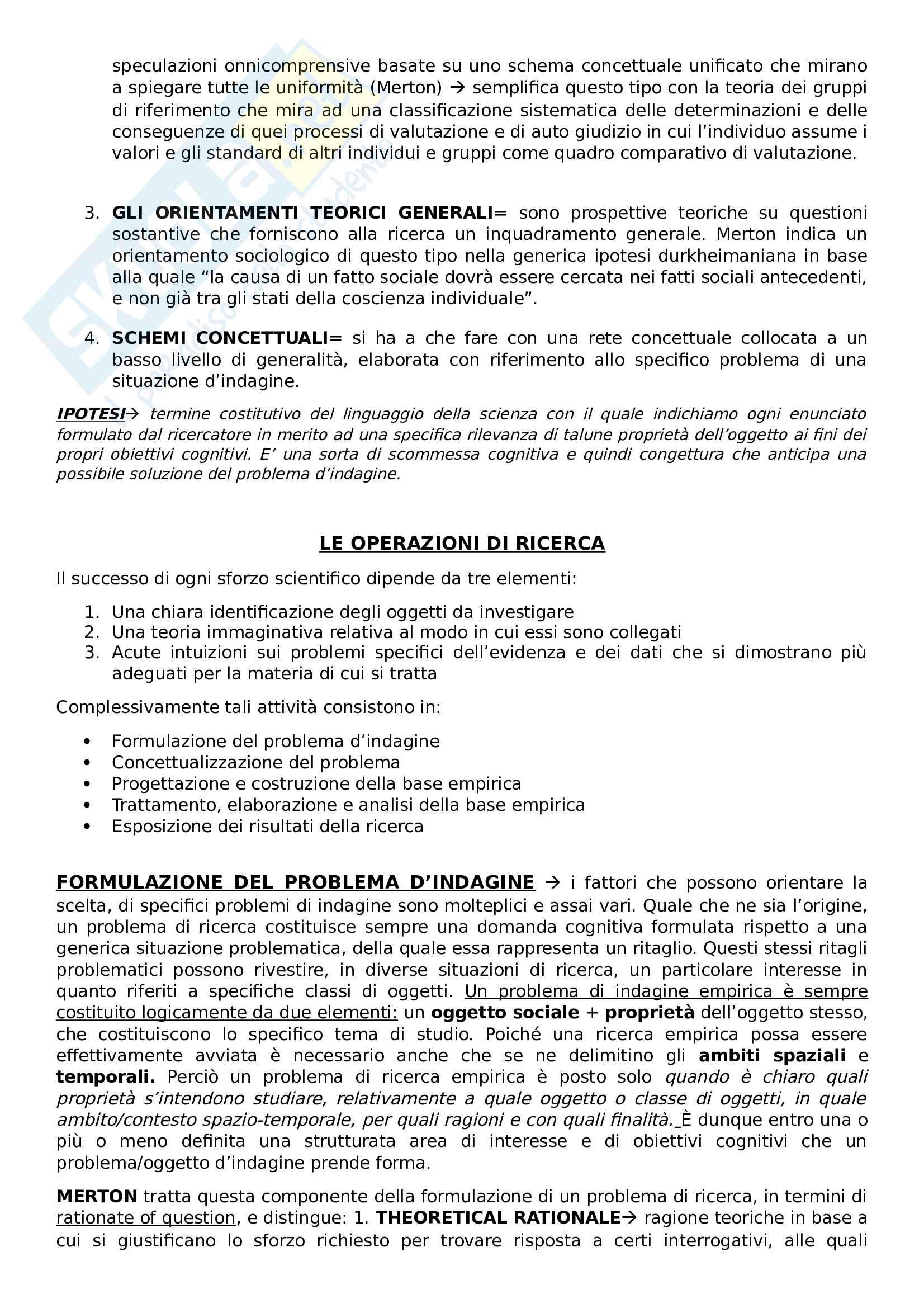 Riassunto esame metodologia della ricerca sociale, Prof Nobile, Prof Fasanella, libro consigliato Il disegno della ricerca sociale Pag. 2