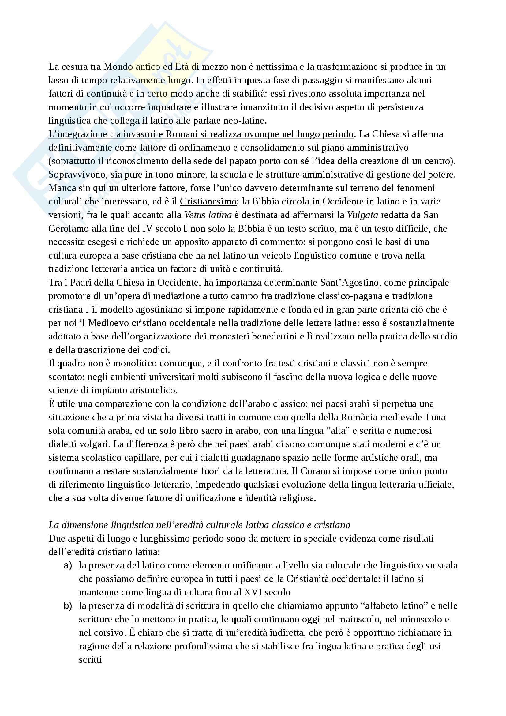 Riassunto esame Filologia, prof. Gresti, libro consigliato Origini romanze, Asperti Pag. 11