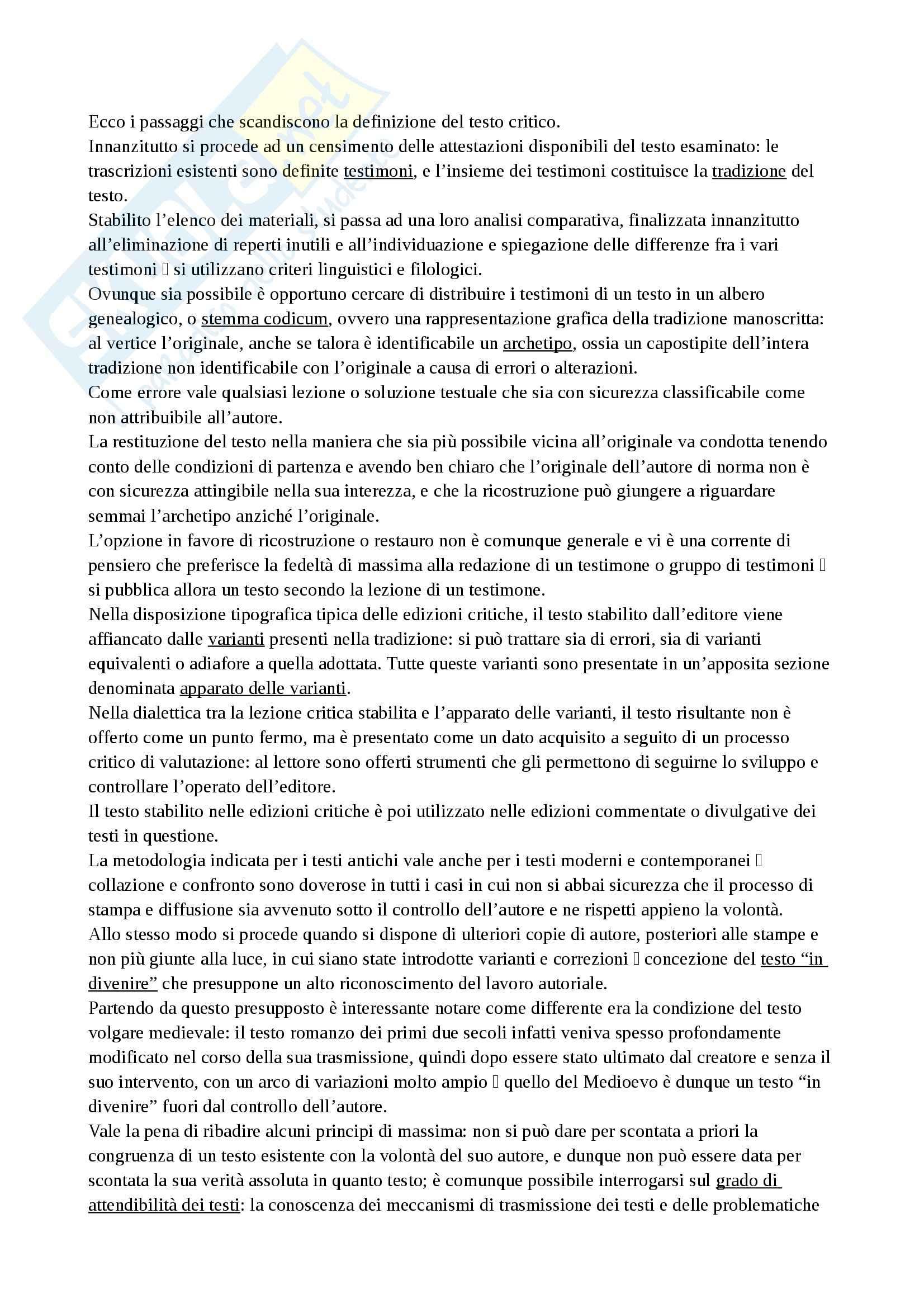Riassunto esame Filologia, prof. Gresti, libro consigliato Origini romanze, Asperti Pag. 6