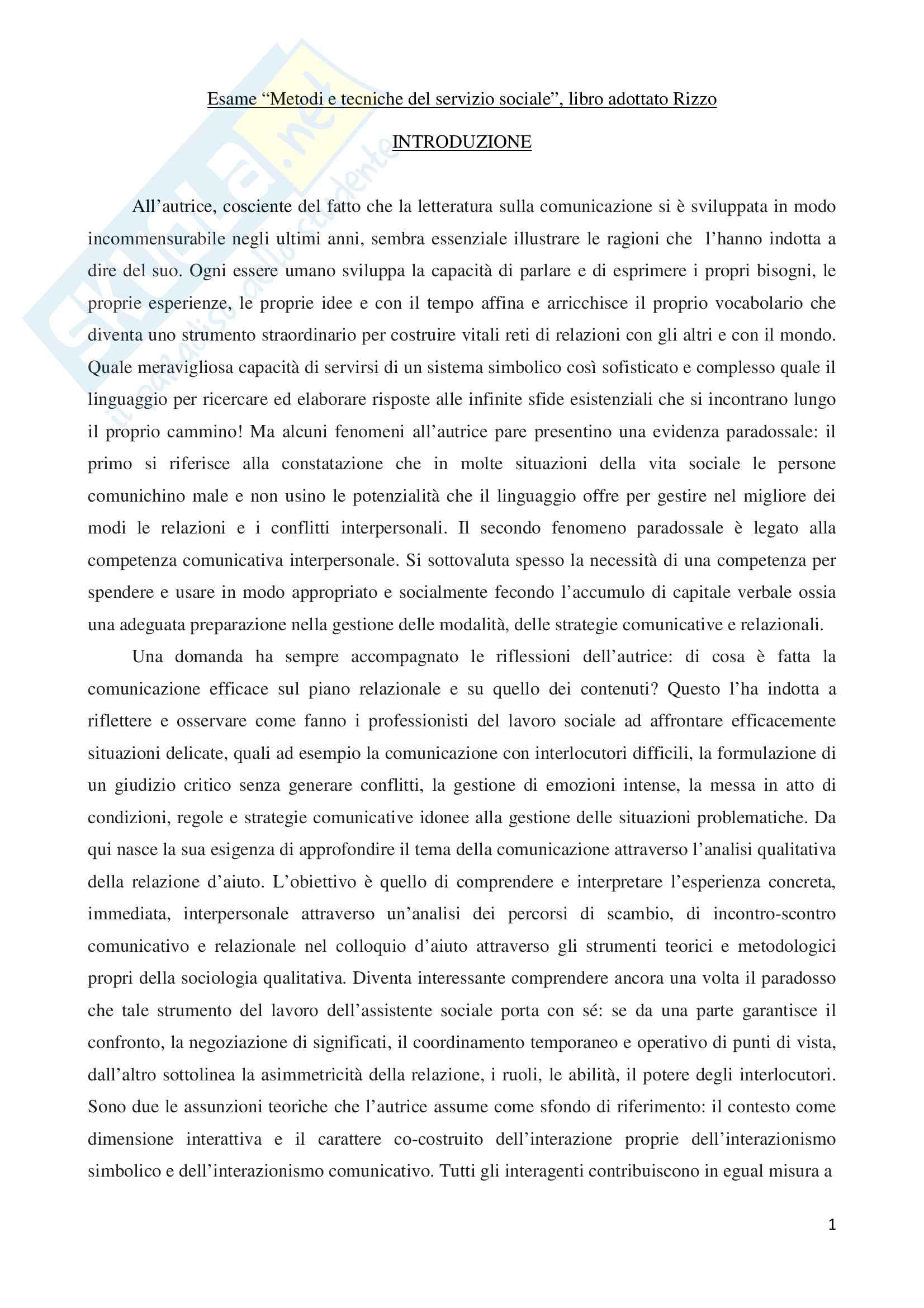 """Riassunto esame Metodi e tecniche del servizio sociale, prof.ssa Rizzo, libro consigliato """"La negoziazione dell'Inatteso. Strategie comunicative nel colloquio d'aiuto"""""""